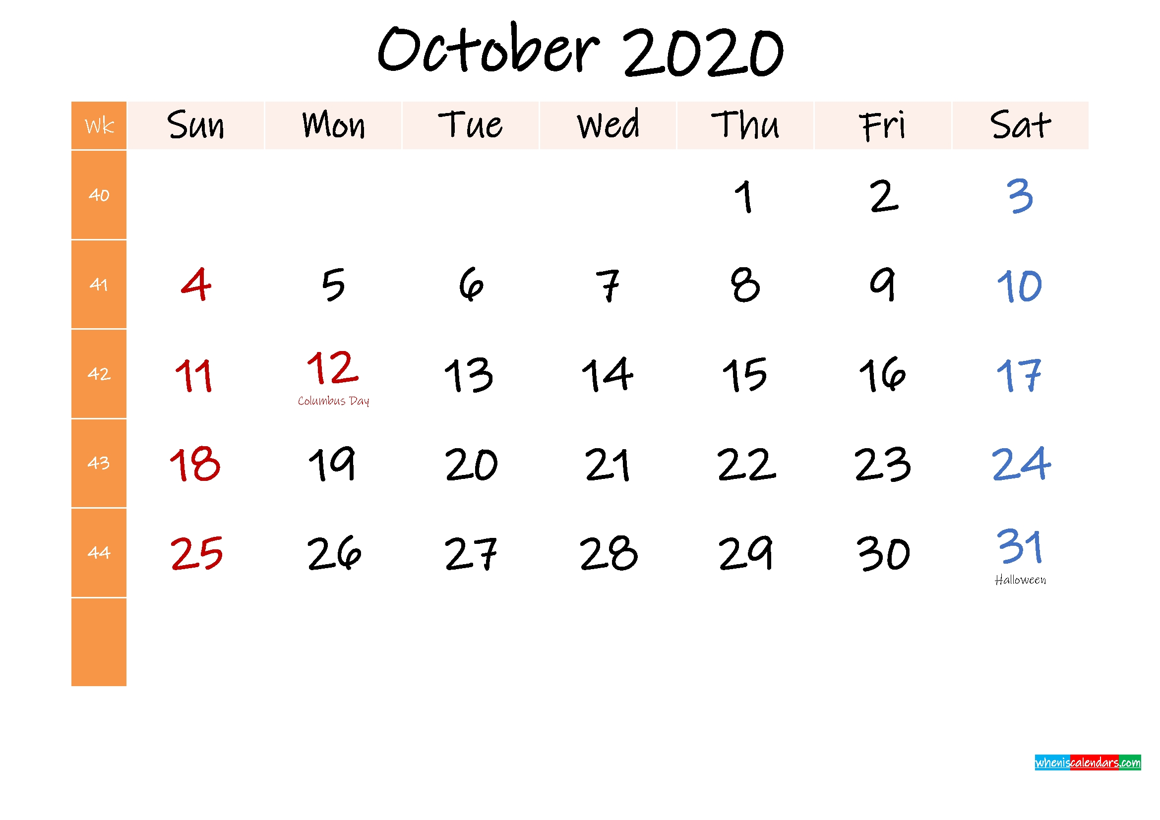 Free October 2020 Monthly Calendar Template Word – Template intended for 2020 Calendar Printable Free Word Monthly