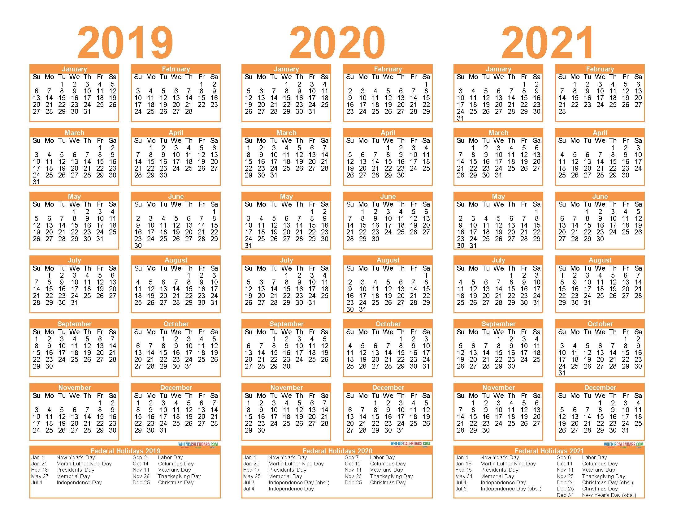 Free Printable 2019 2020 2021 Calendar With Holidays – Free with 3 Year Calendar 2019 2020 2021 Printable
