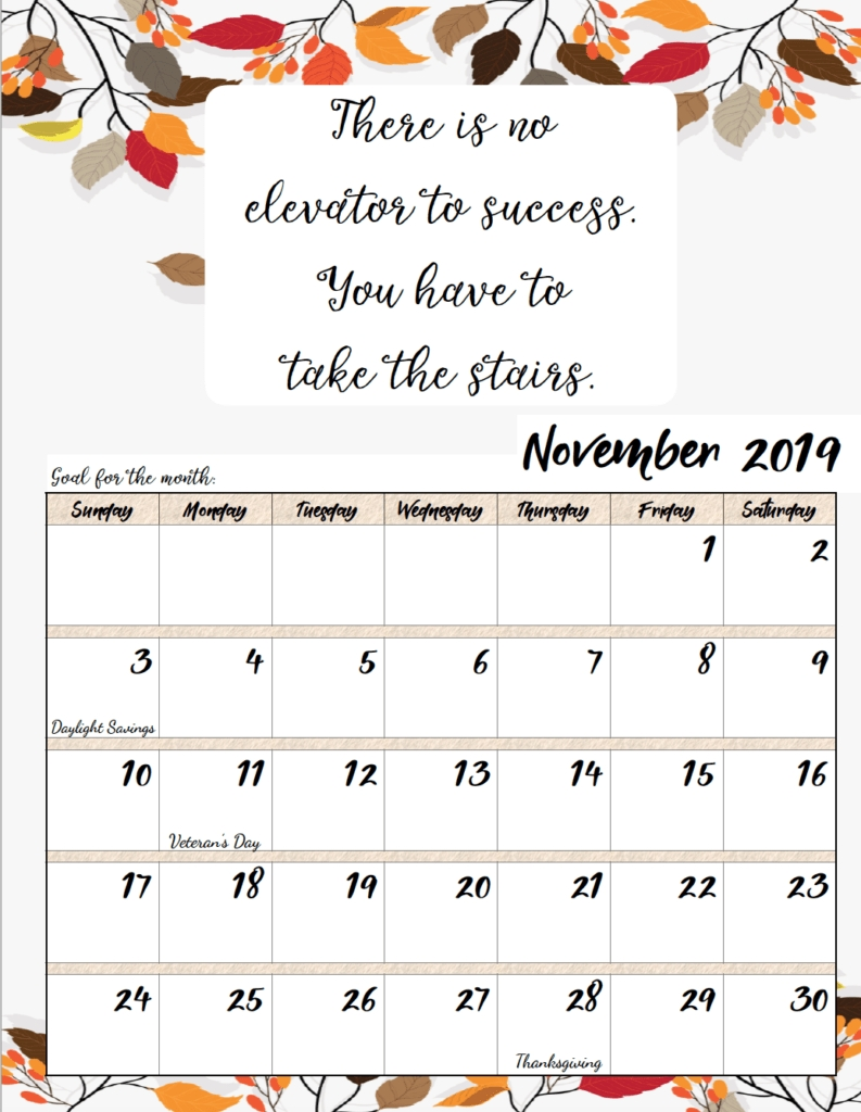 Free Printable 2019 Monthly Motivational Calendars intended for December 2019 Printables And Inspirations
