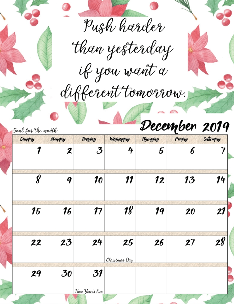 Free Printable 2019 Monthly Motivational Calendars regarding December 2019 Printables And Inspirations