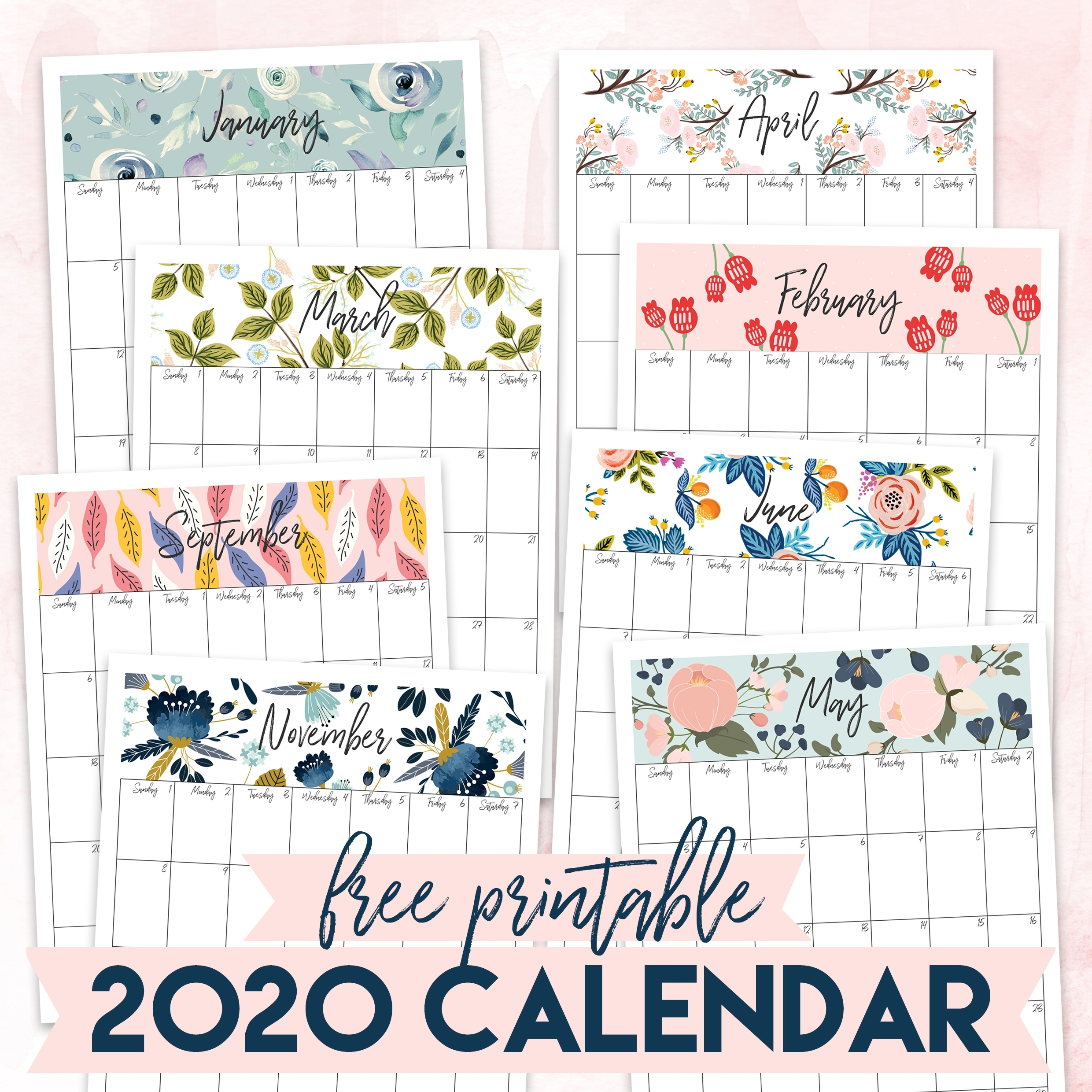 Free Printable 2020 Calendar - The Craft Patch within 8.5 X 11 Printable 2020 Calendar