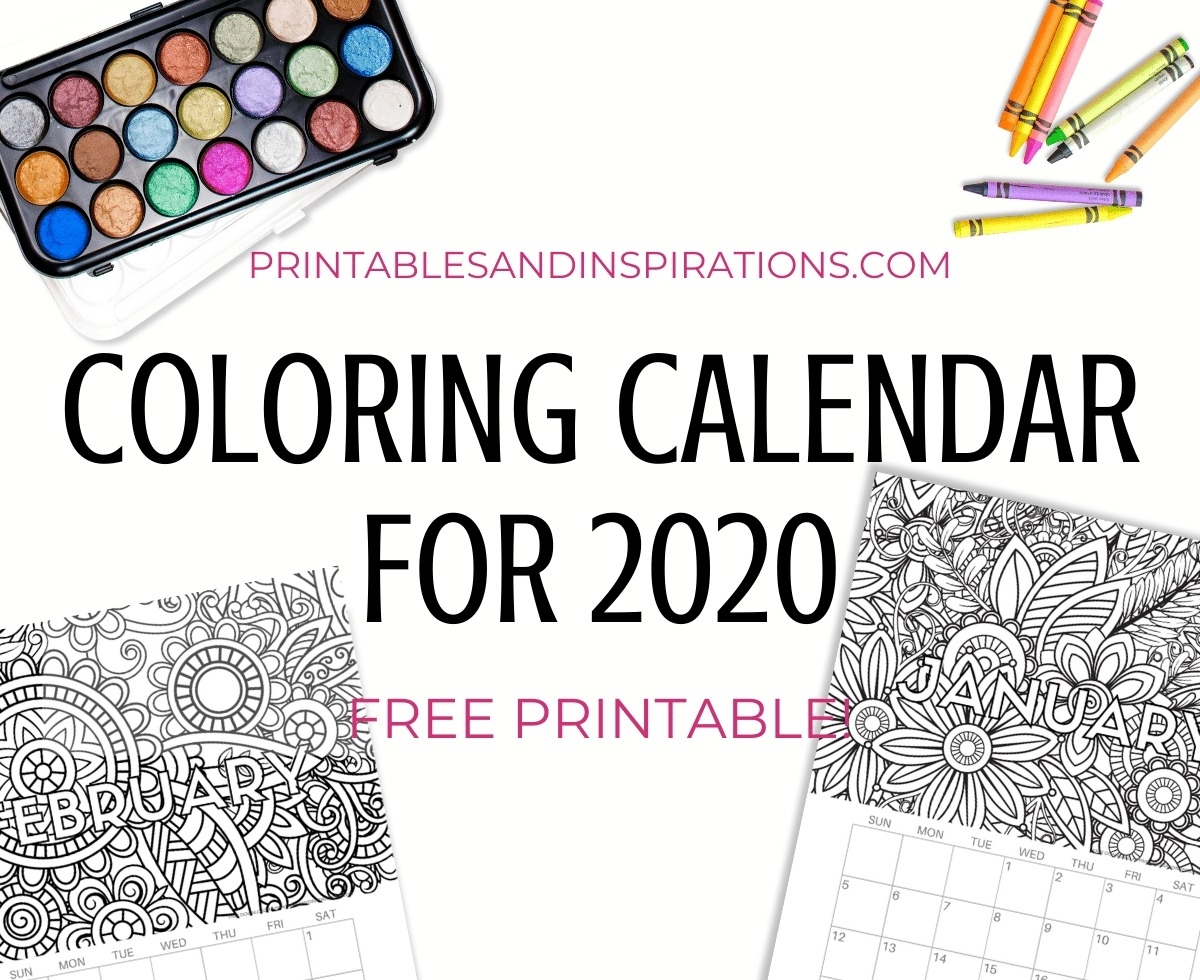Free Printable 2020 Coloring Calendar Pages - Printables And intended for Printable Coloring 2020 Monthly Calendar