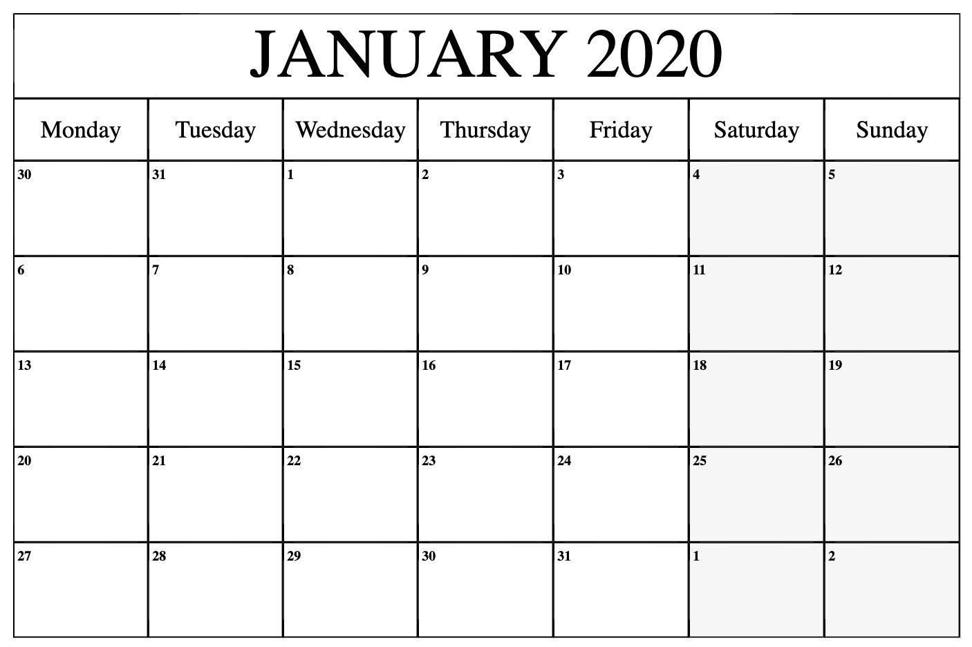 Free Printable 2020 Monthly Calendar With Holidays Word Pdf for 2020 Monthly Calendar Monday Start Printable Free