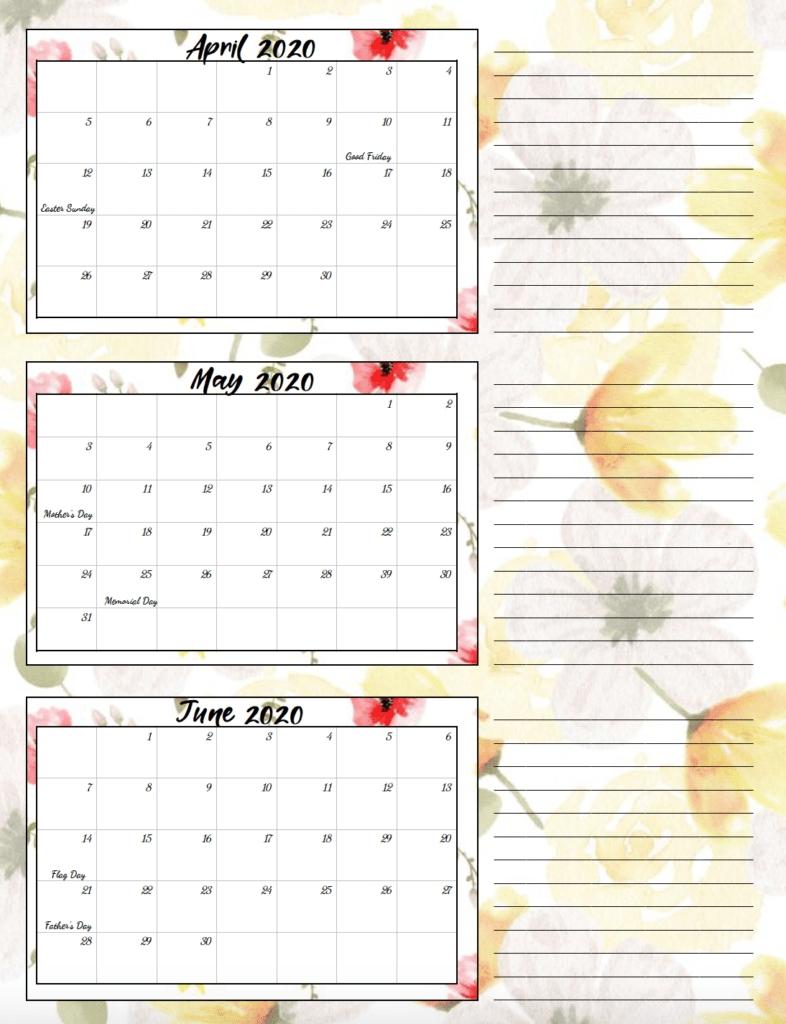 Free Printable 2020 Quarterly Calendars With Holidays: 3 Designs for Calendar For Quarterly 2020 Printable