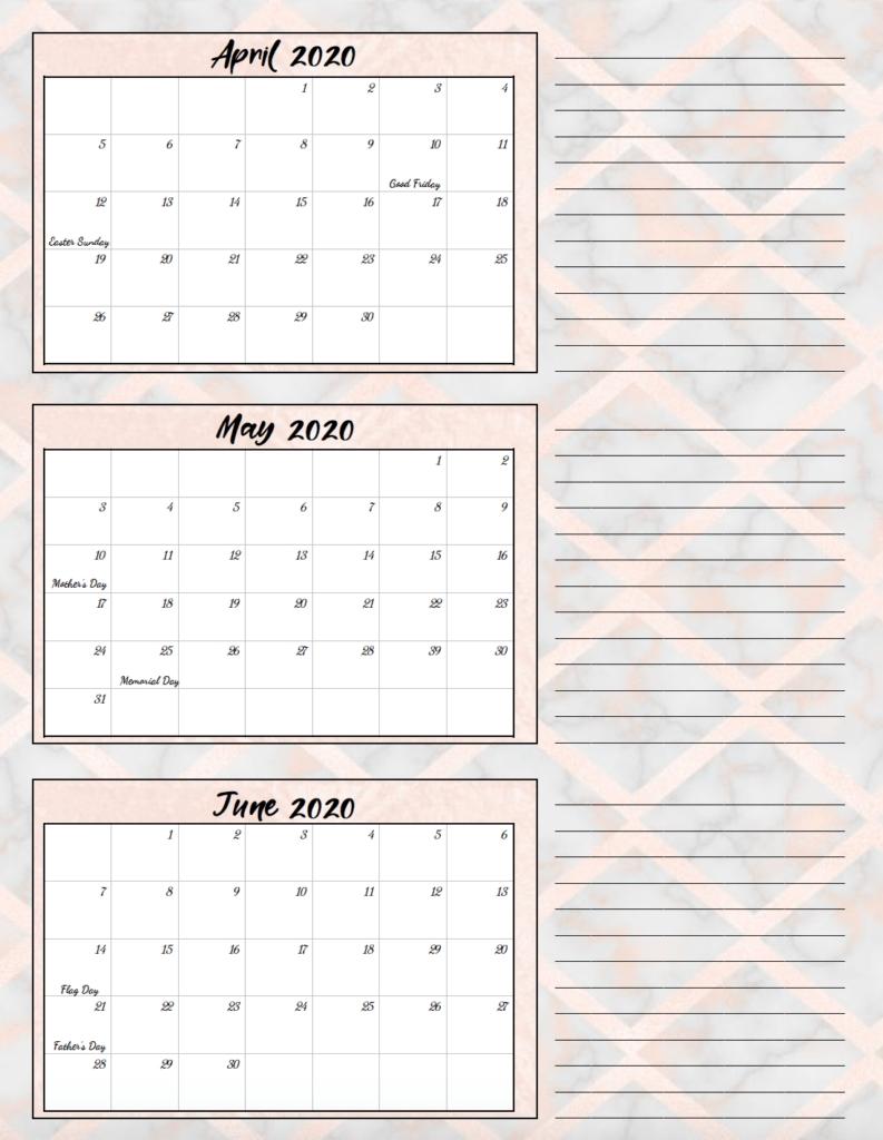 Free Printable 2020 Quarterly Calendars With Holidays: 3 Designs with regard to Calendar For Quarterly 2020 Printable