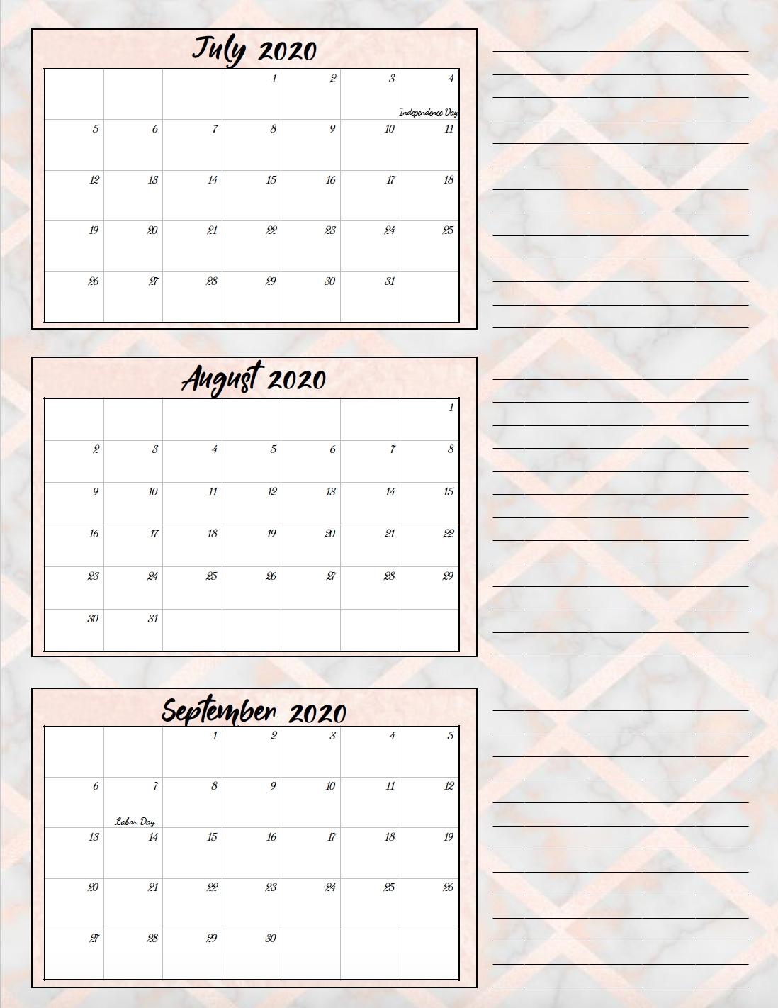 Free Printable 2020 Quarterly Calendars With Holidays: 3 inside Calendar For Quarterly 2020 Printable