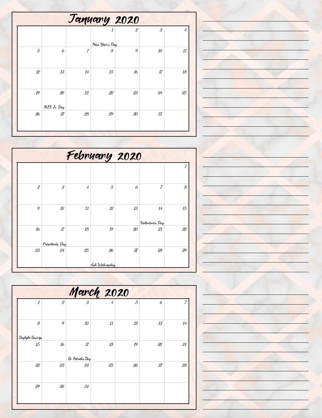 Free Printable 2020 Quarterly Calendars With Holidays: 3 within Calendar For Quarterly 2020 Printable