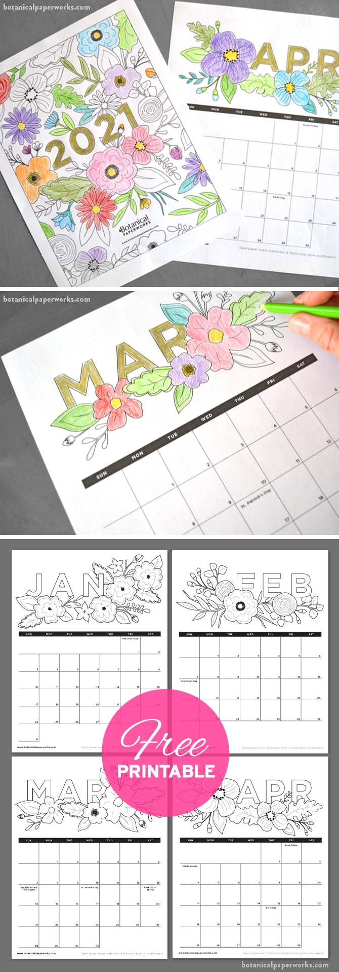 Free Printable 2021 Calendars | Botanical Paperworks