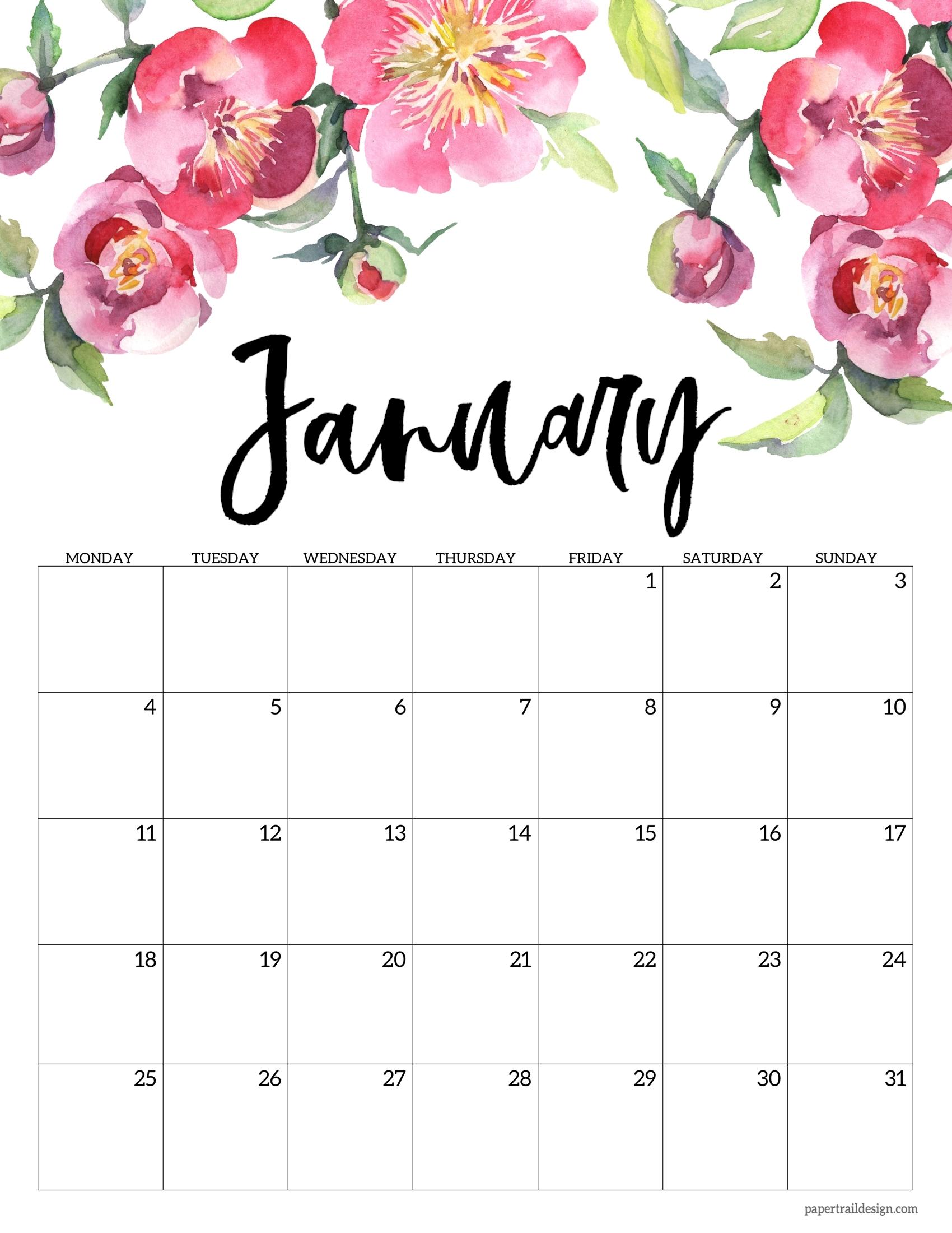 Free Printable 2021 Floral Calendar - Monday Start   Paper
