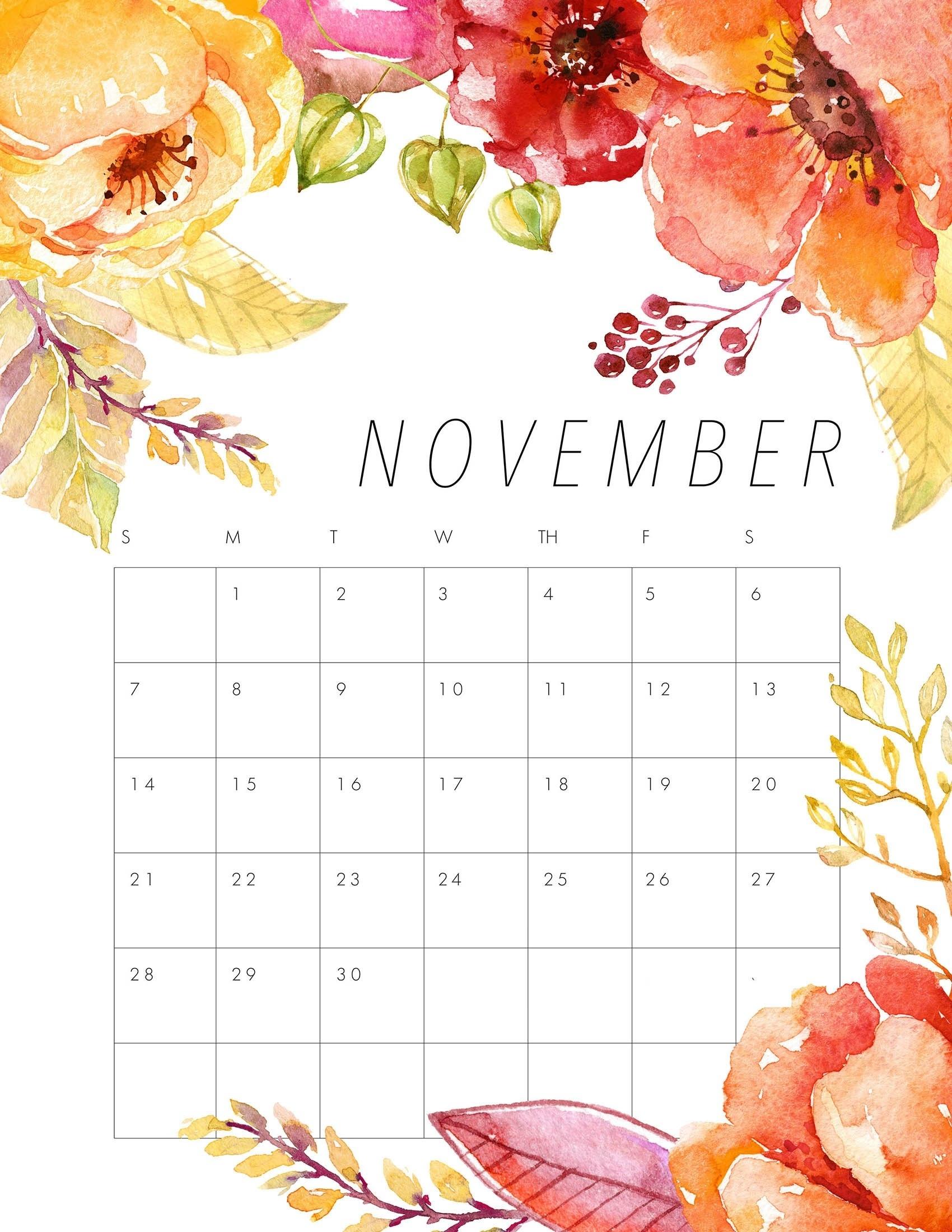 Free Printable 2021 Floral Calendar - The Cottage Market