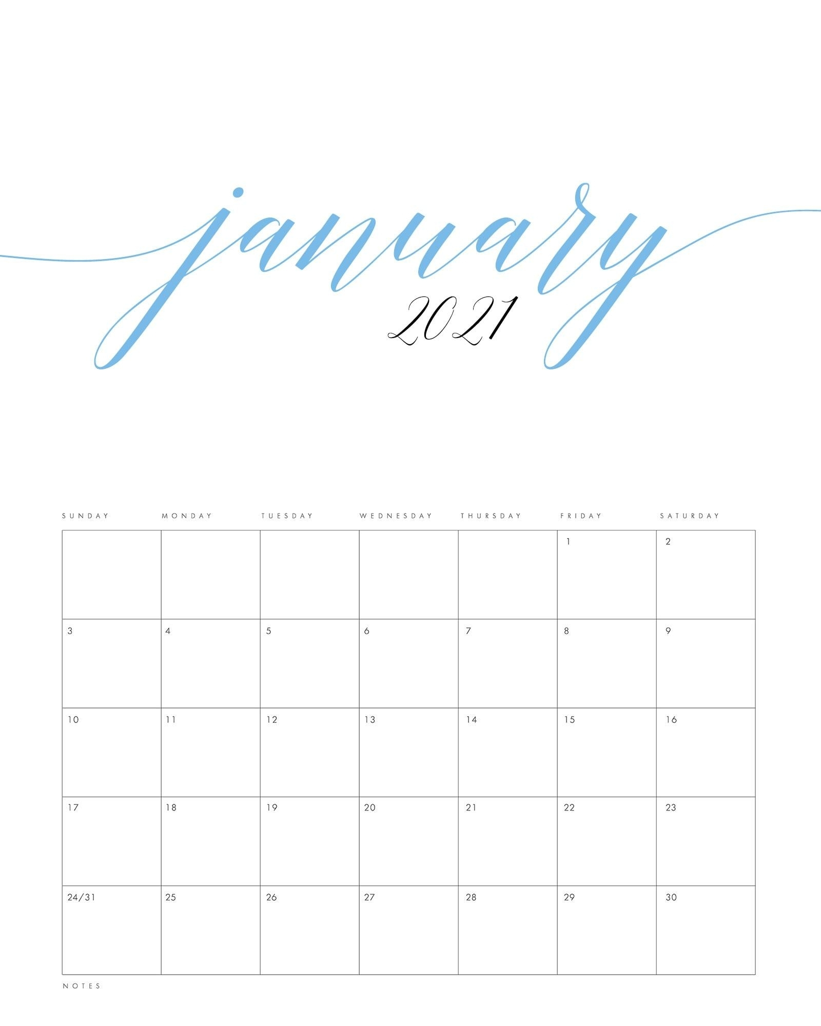 Free Printable 2021 Minimalist Color Calendar - The Cottage
