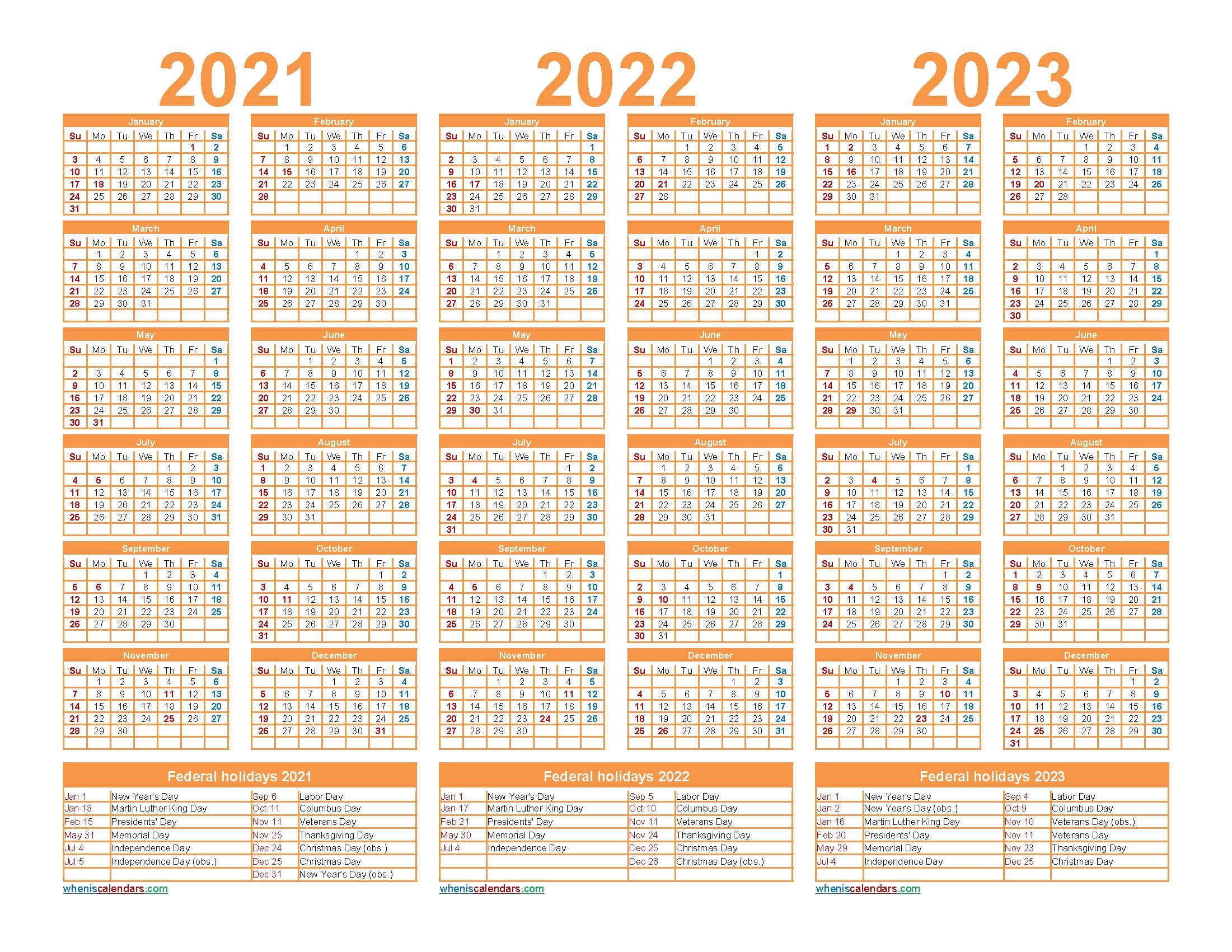 Free Printable 2021 To 2023 Calendar With Holidays