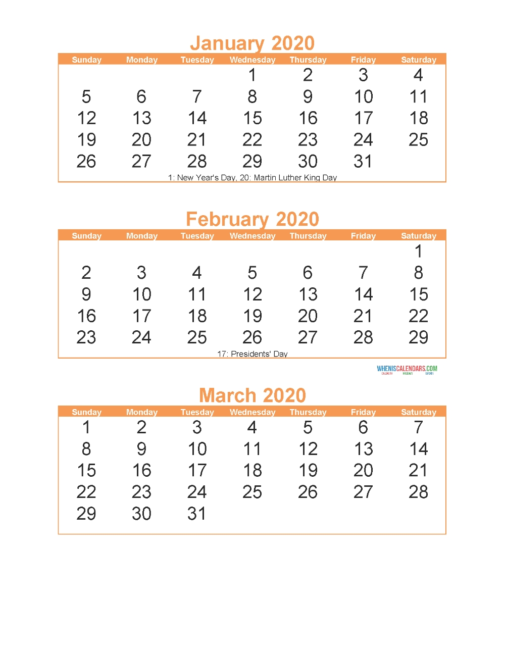 Free Printable 3 Month Calendar 2020 January February March for Individual Monthly Printable Calendars For 2020 And 2021
