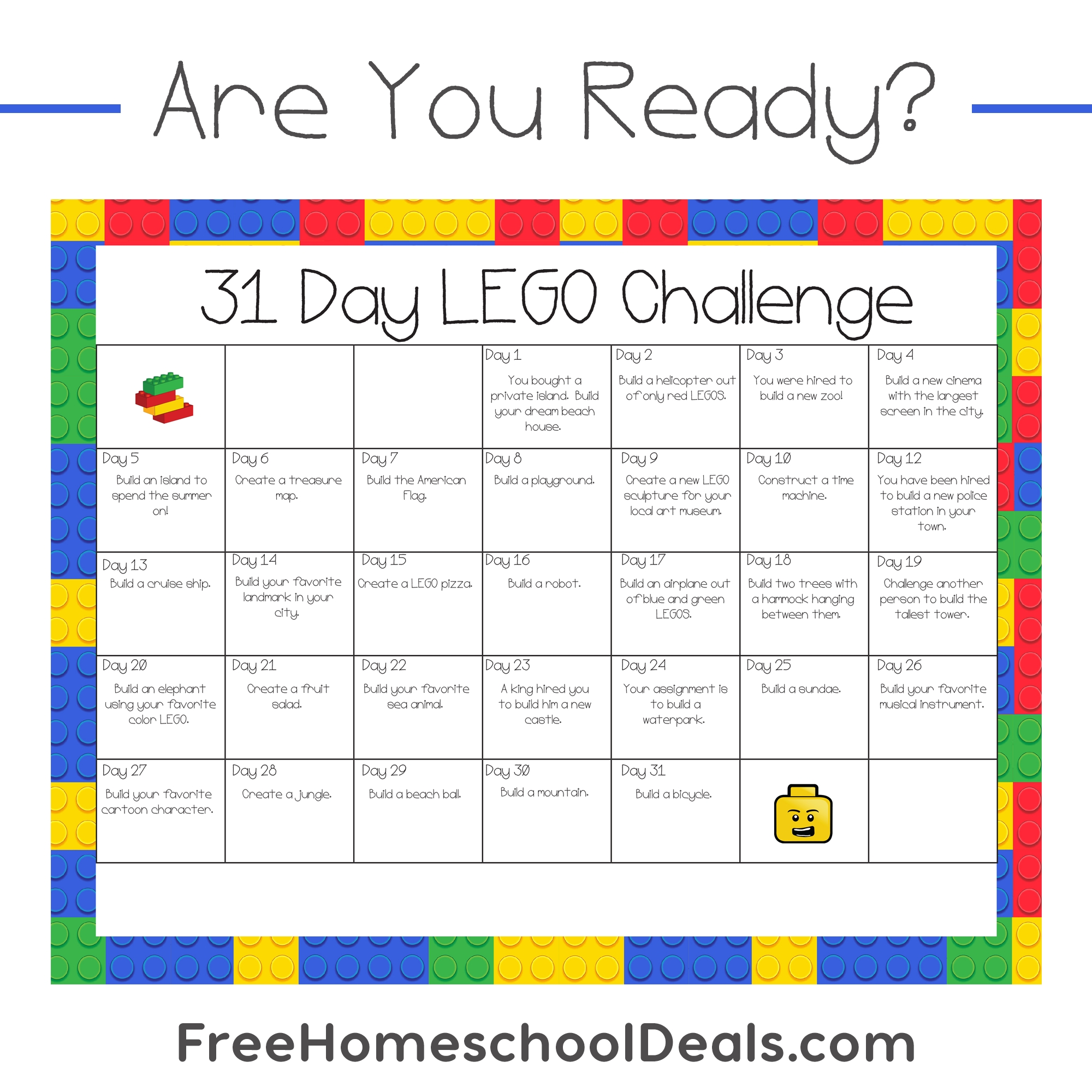 Free Printable 31-Day Lego Challenge (Instant Download