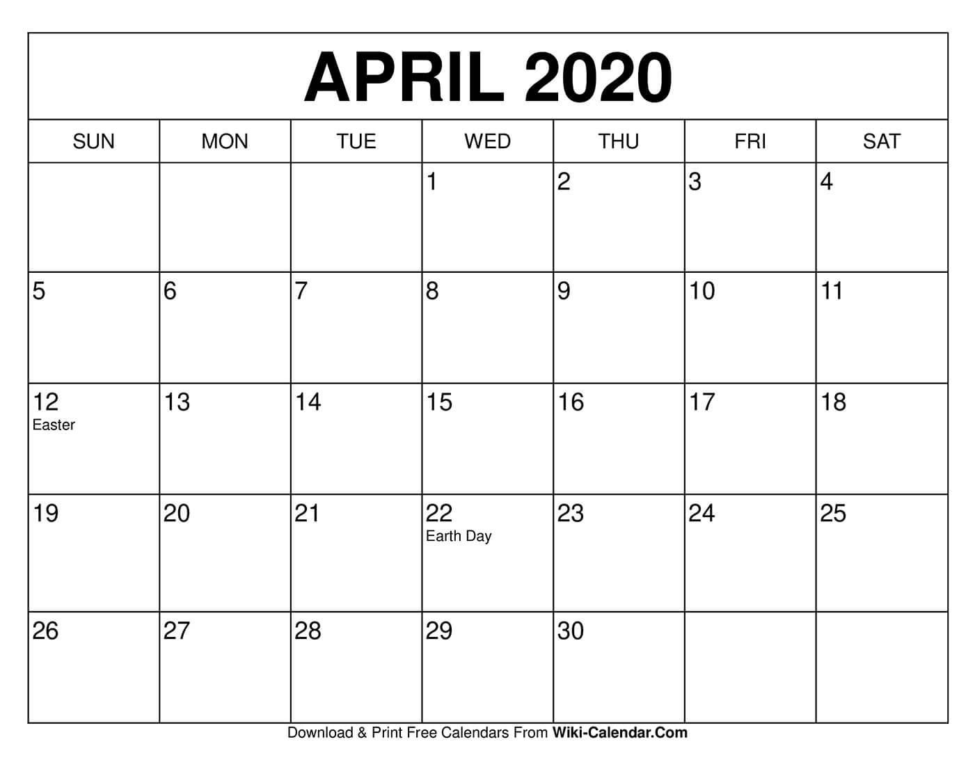 Free Printable April 2020 Calendars intended for Print Free Calendars Without Downloading 2020