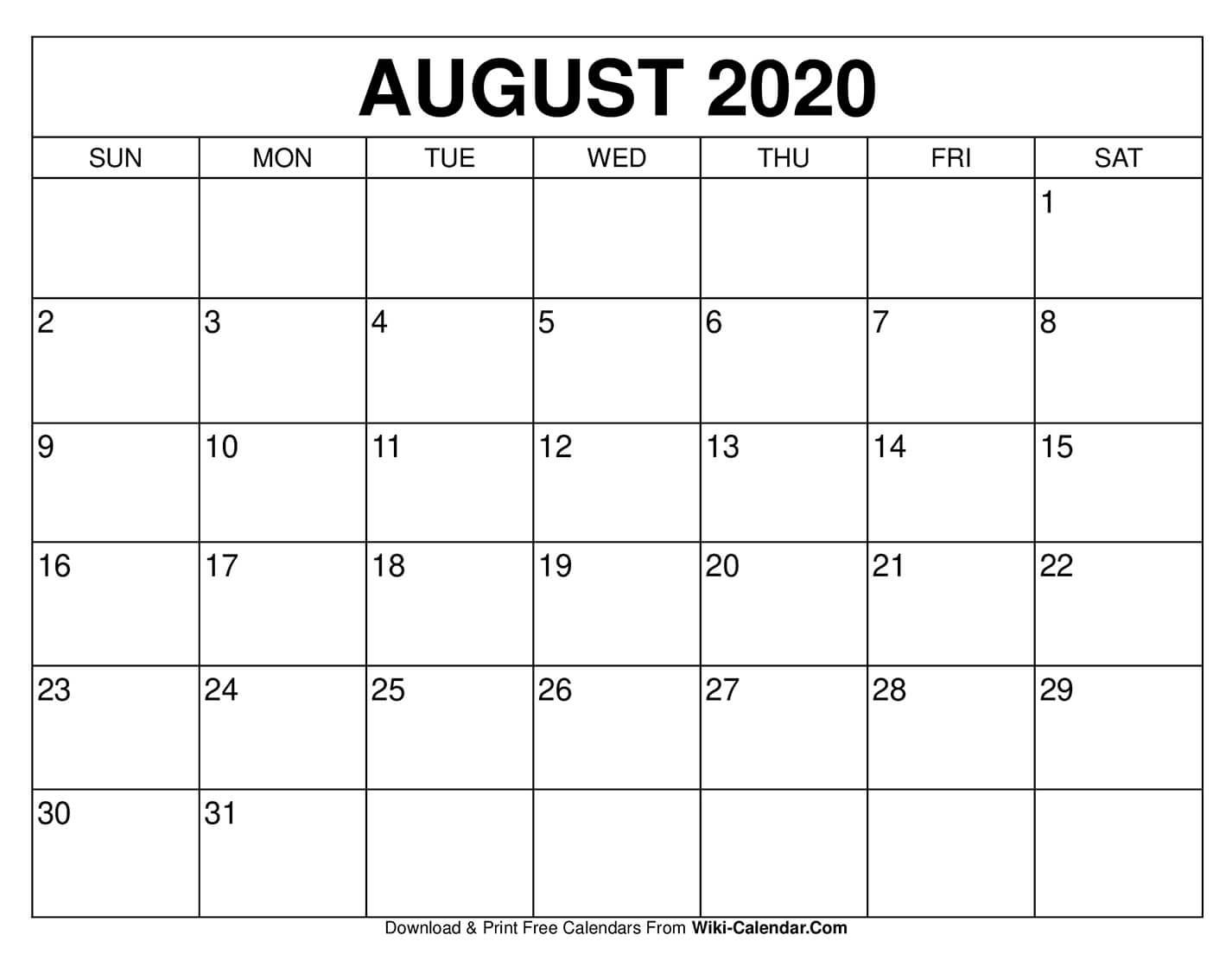 Free Printable August 2020 Calendars with 2020 Calendar Printable Free Pdf Color