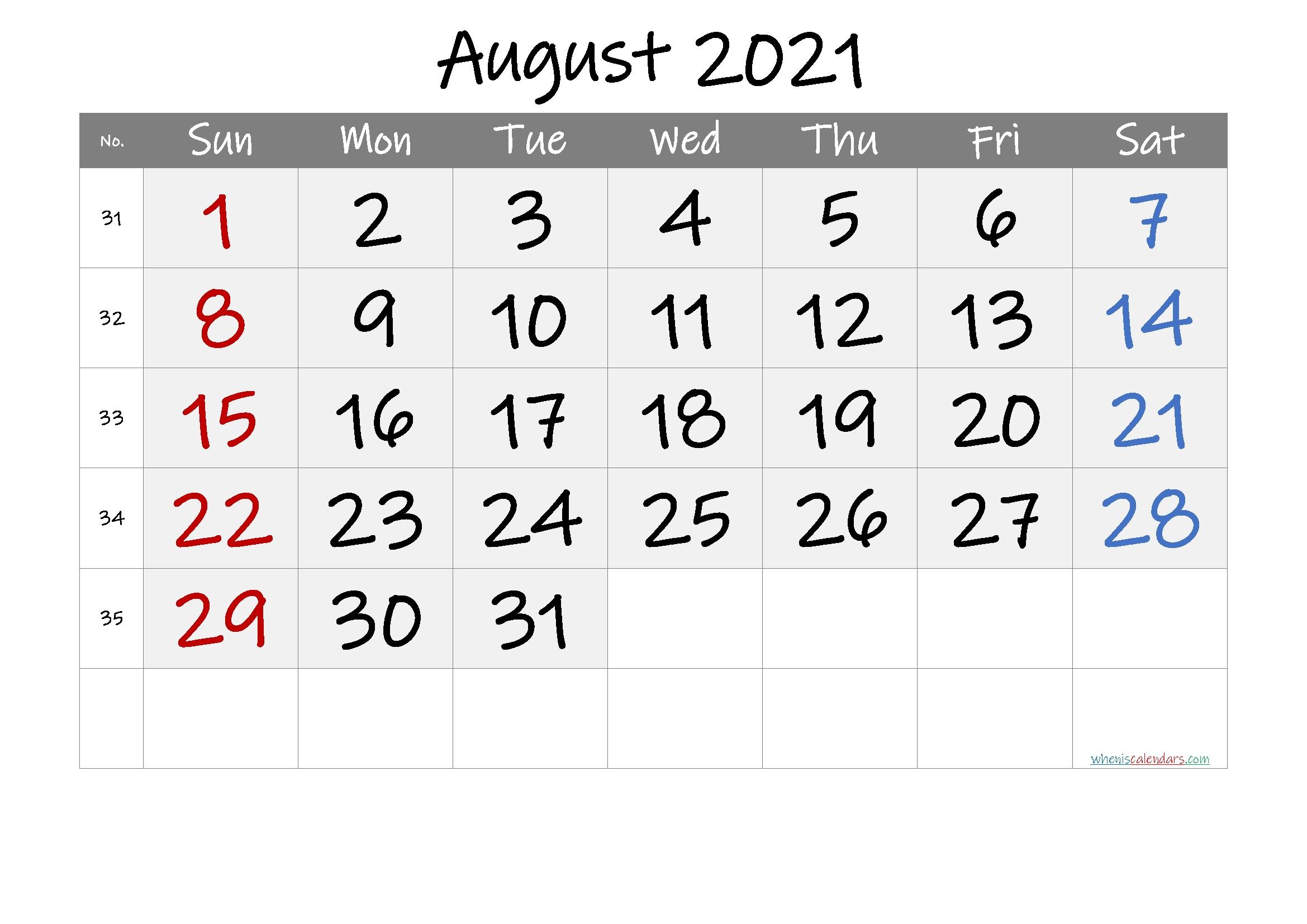 Free Printable August 2021 Calendar (Premium) In 2020
