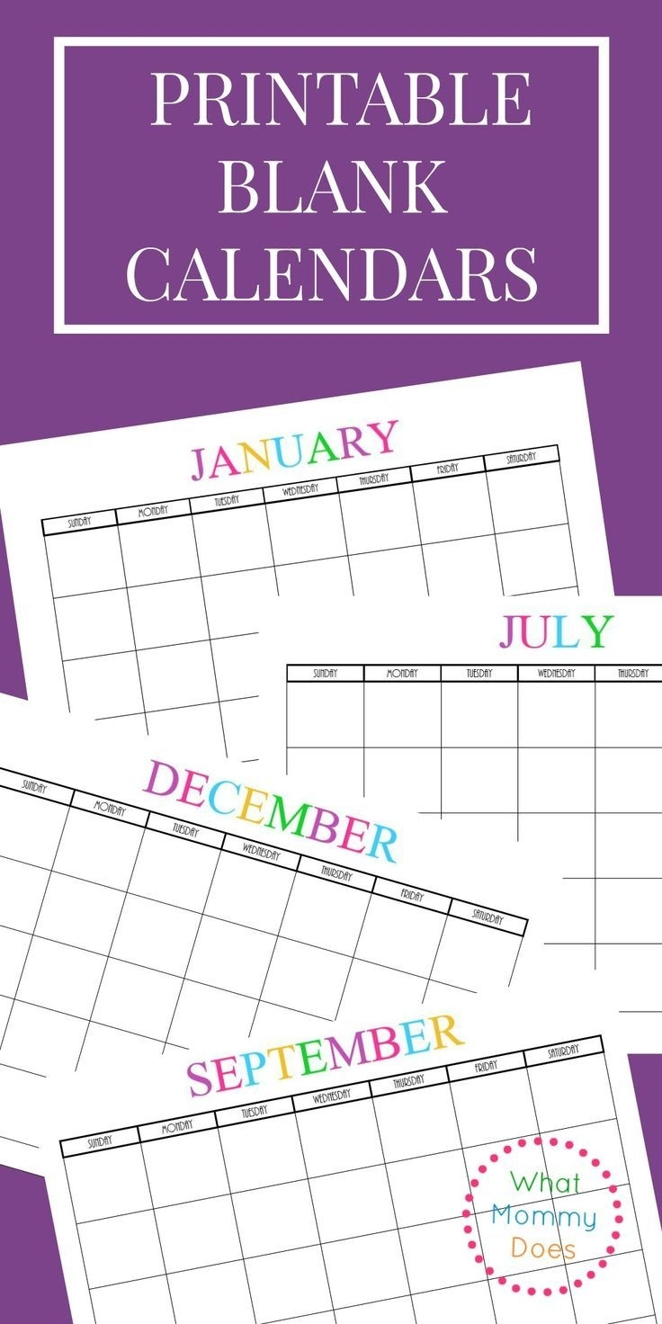 Free Printable Blank Monthly Calendars – 2020, 2021, 2022