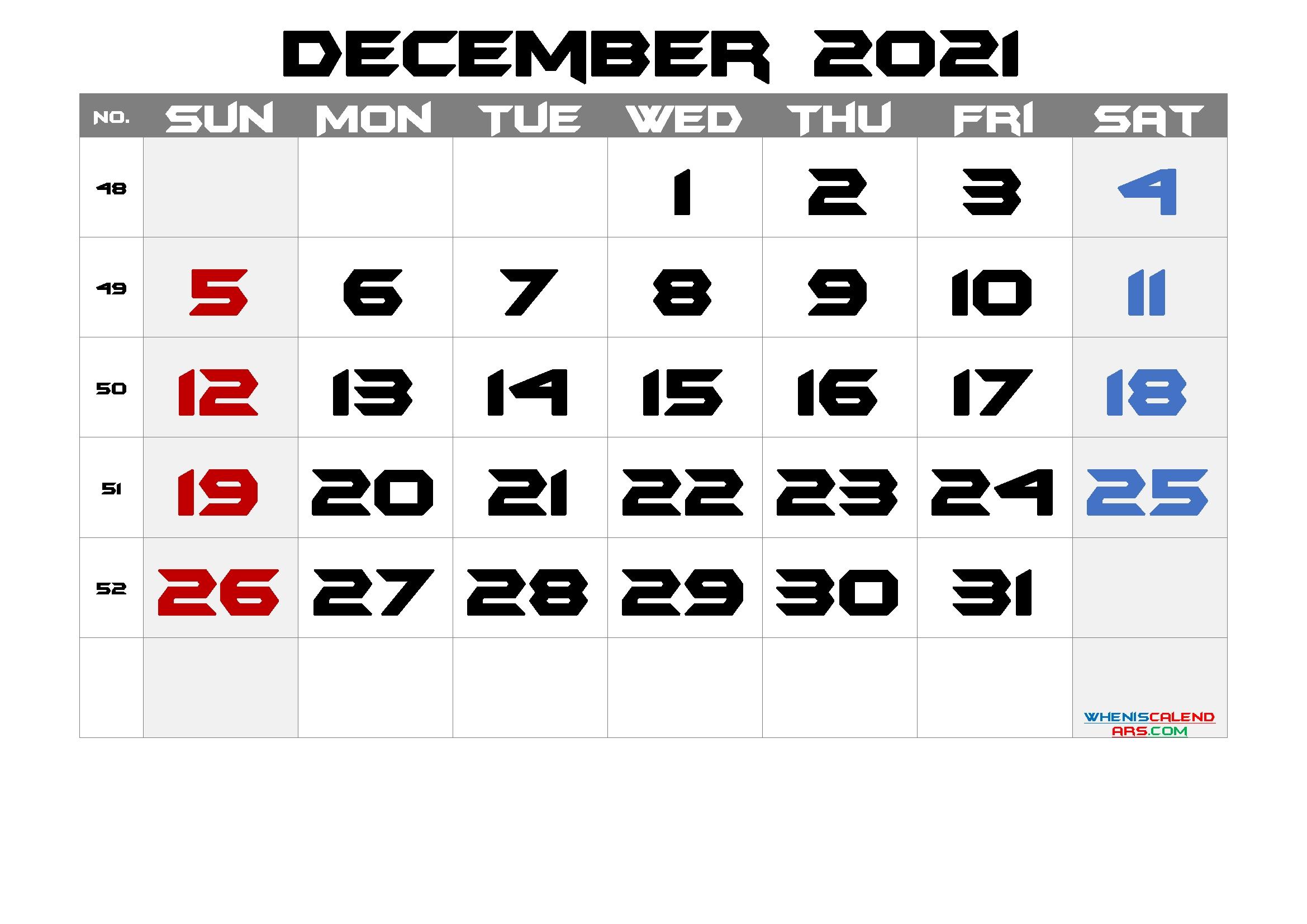 Free Printable Calendar 2021 December [Free Premium] – Free