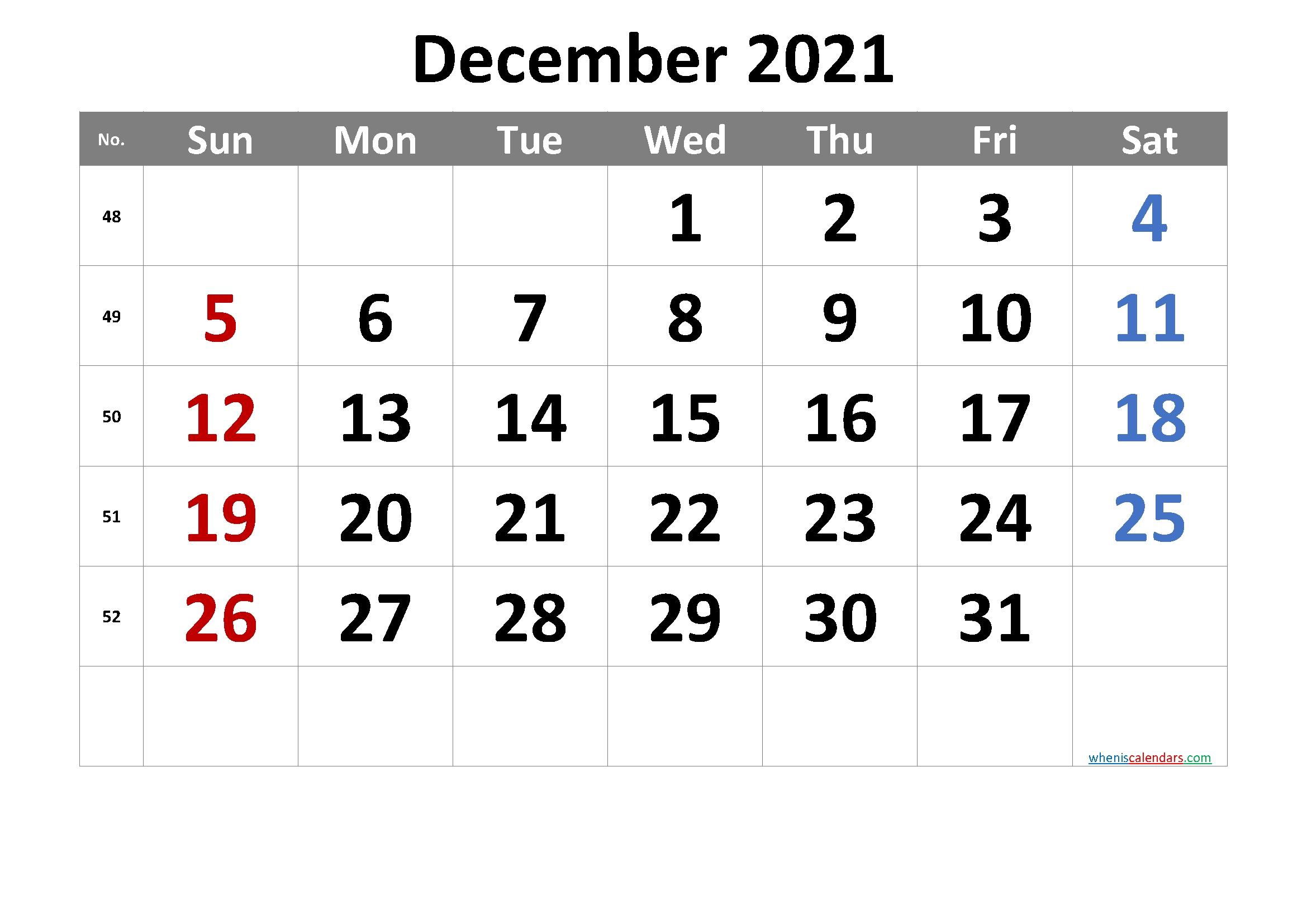 Free Printable Calendar 2021 December – Free Printable 2020