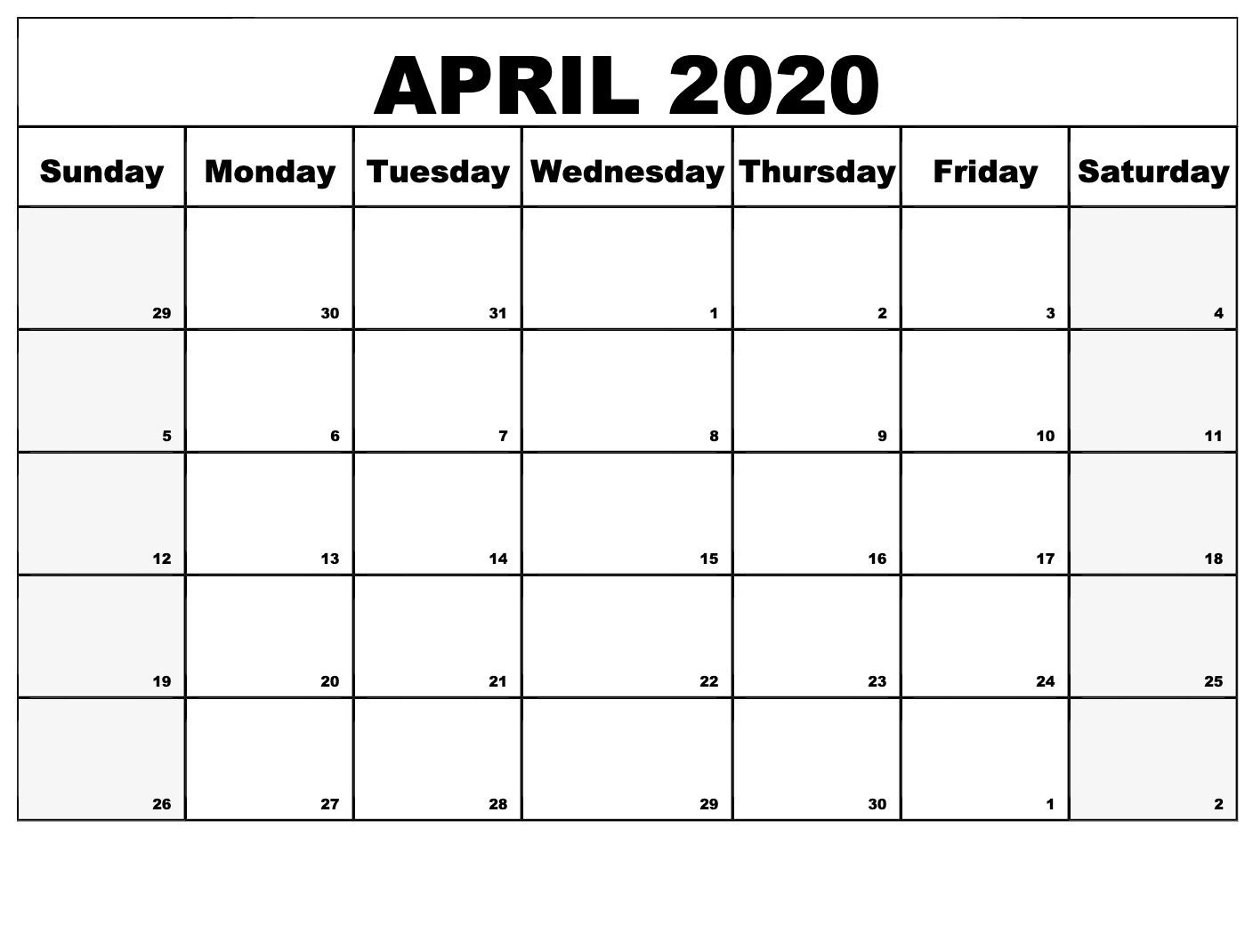 Free Printable Calendar April 2020 For Daily Schedule | Free with regard to Large Box Printable 2020 Calendar