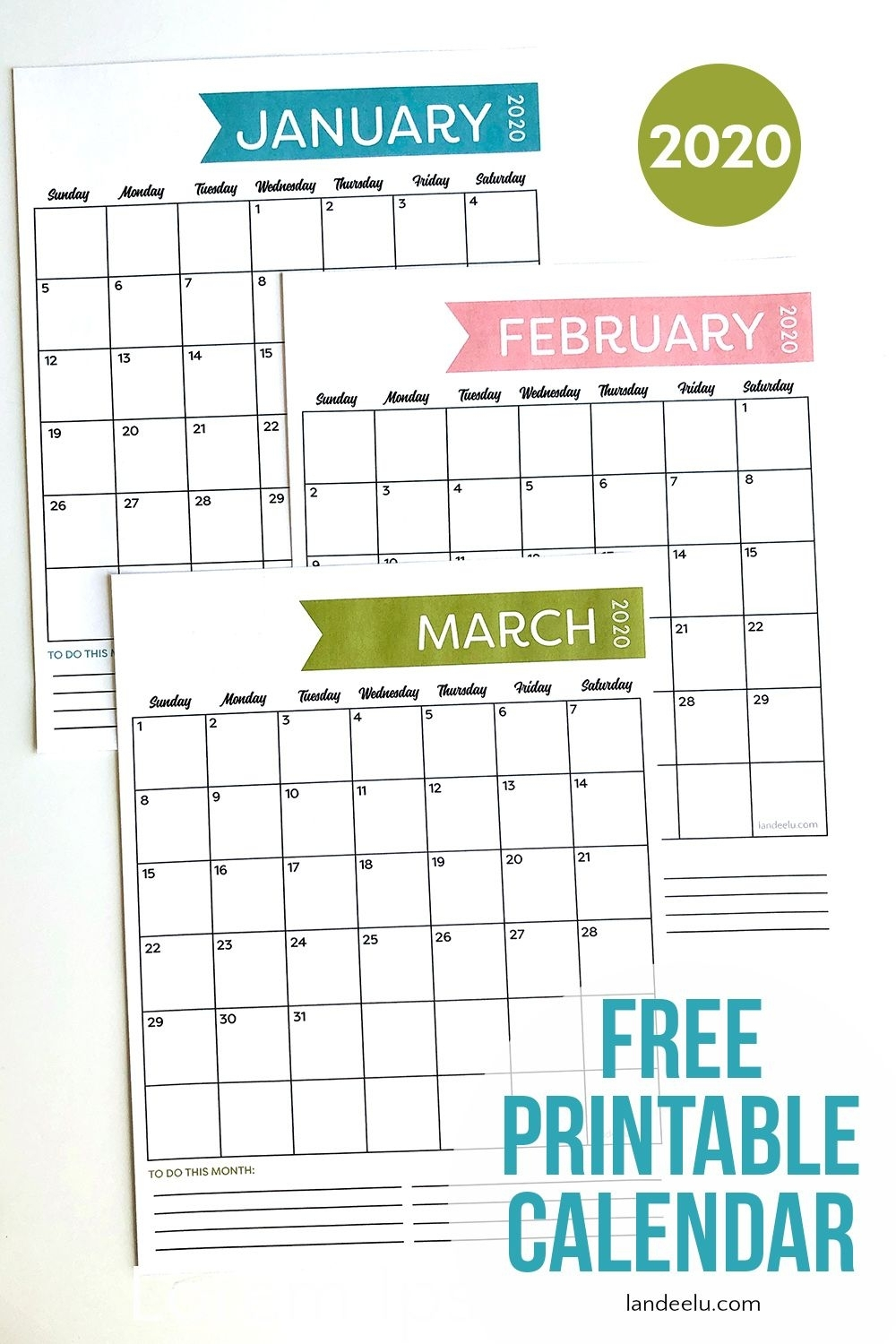 Free Printable Calendar For 2020- Simple Design | Free