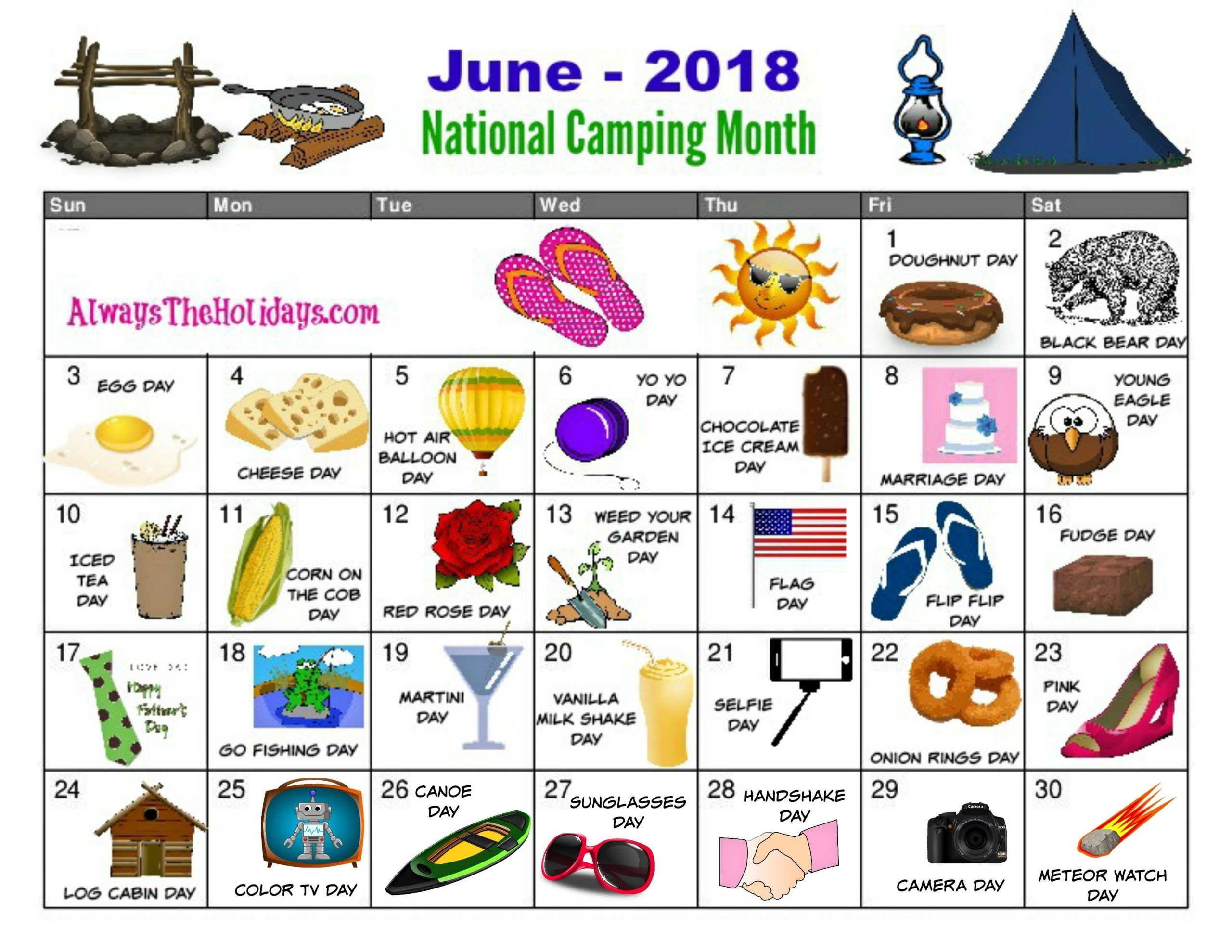 Free Printable Calendar For The Month Of June | National Day