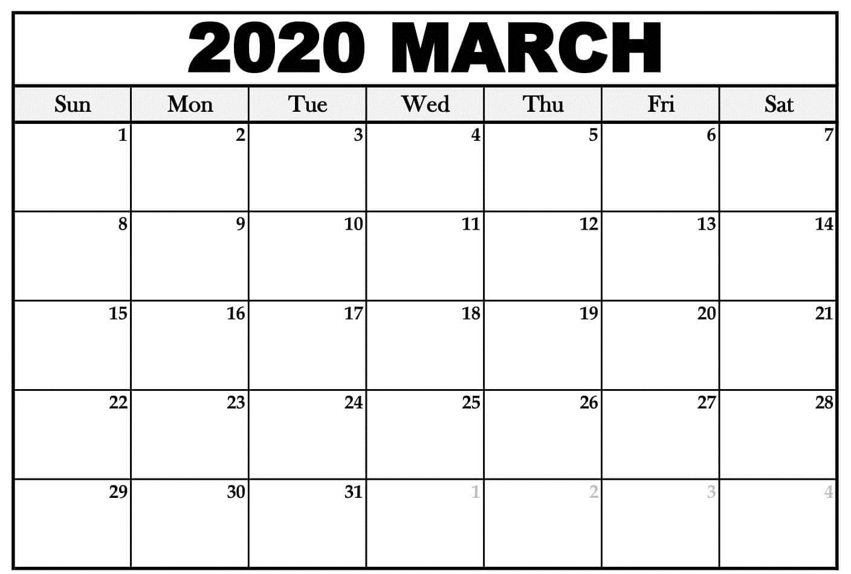Free Printable Calendar March 2020 Large Sheet | Free inside Printable Fill In 2020 Calendar Large Print