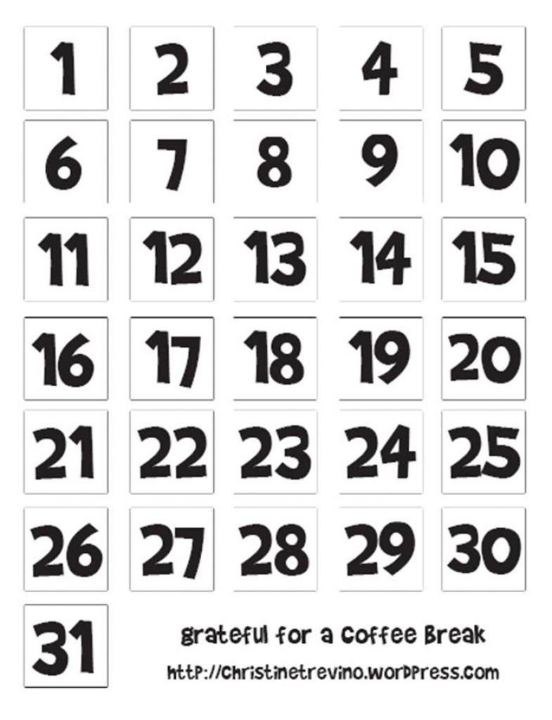Free Printable Calendar Numbers 1-31 Pdf In 2020 | Printable