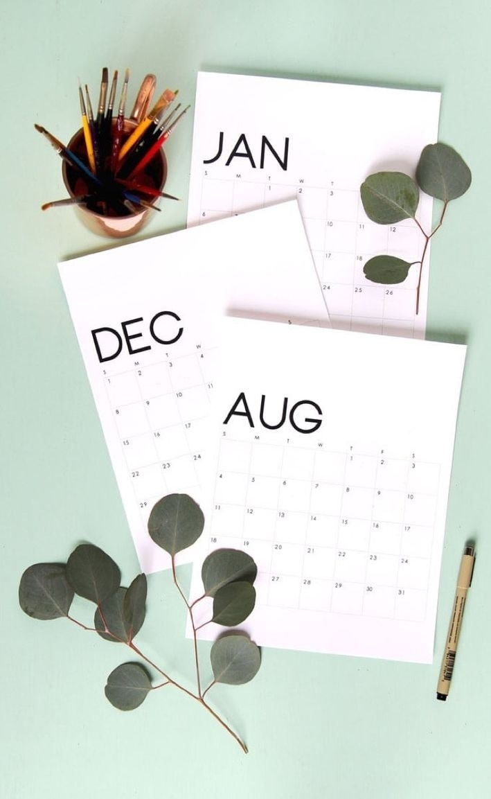 Free Printable Calendar Roundup   2019 Monthly Templates