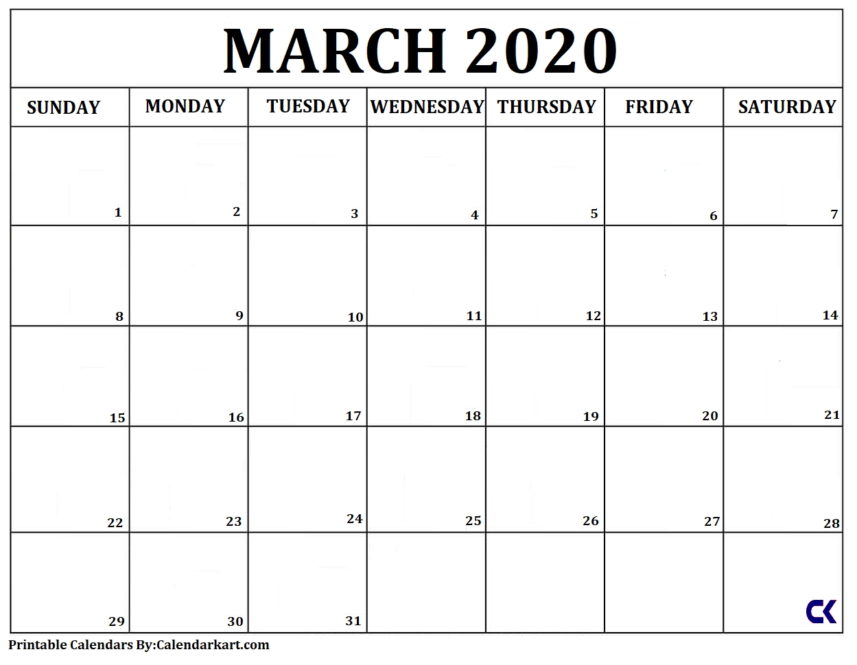 Free Printable Calendars 2020 And 2021: Monthly & Yearly regarding Large Box Printable 2020 Calendar