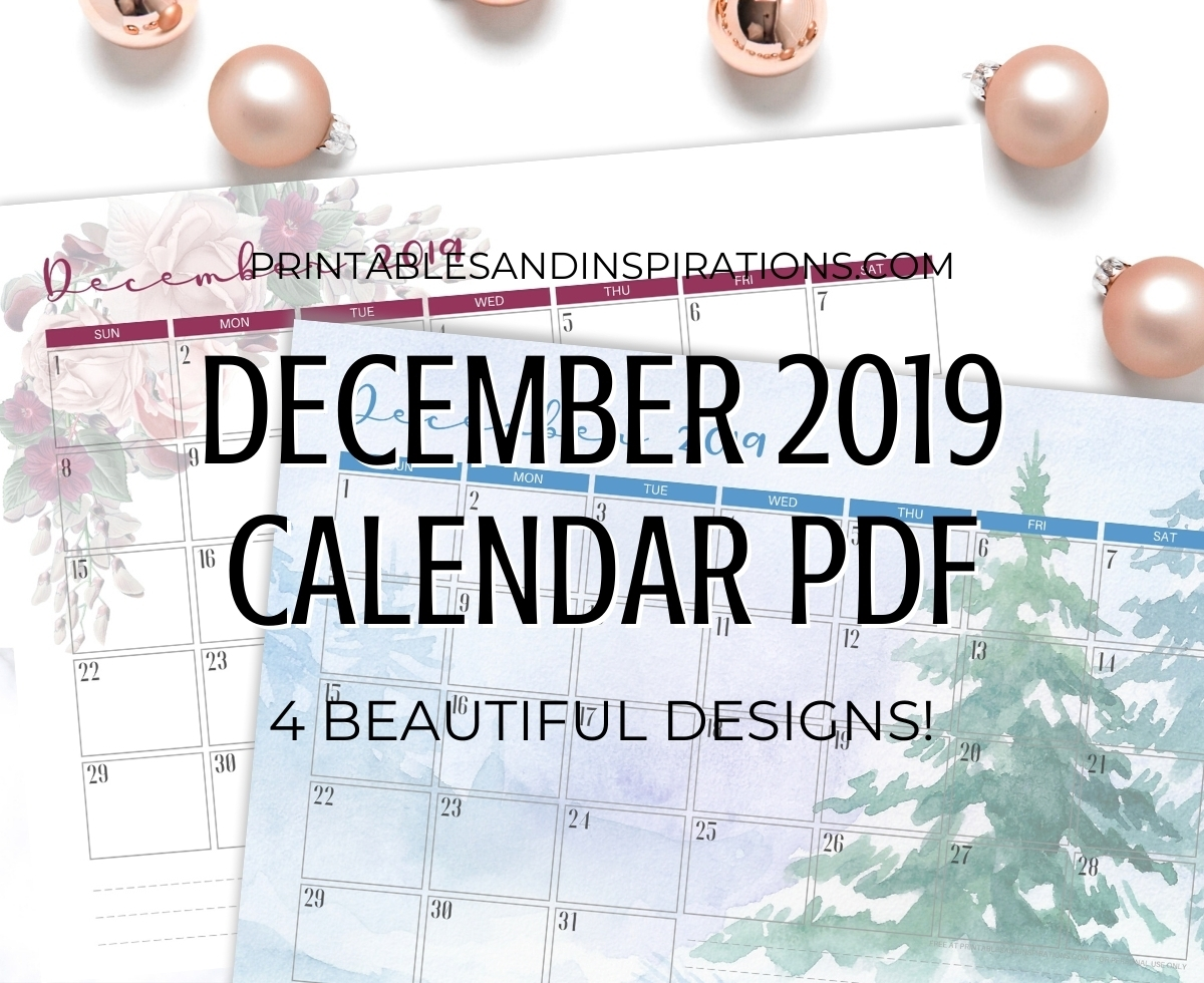 Free Printable December 2019 Calendar Pdf - Printables And within December 2019 Printables And Inspirations