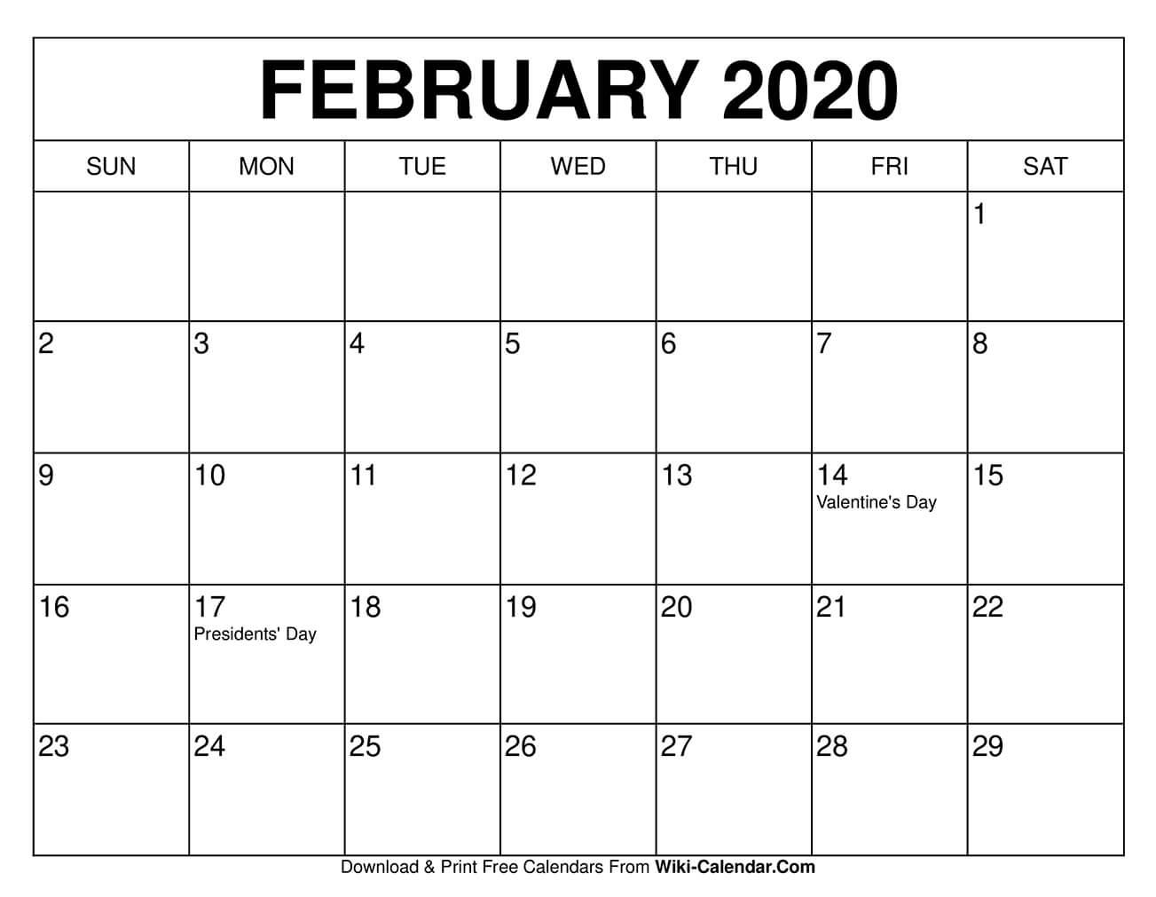 Free Printable February 2021 Calendars in Print Free Calendars Without Downloading 2020