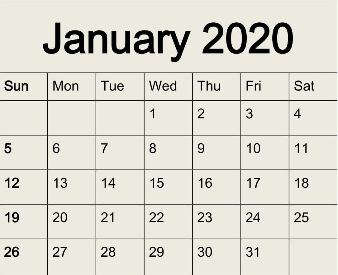 Free Printable January 2020 Calendar Pdf Template - Latest regarding Printable Fill In 2020 Calendar Large Print