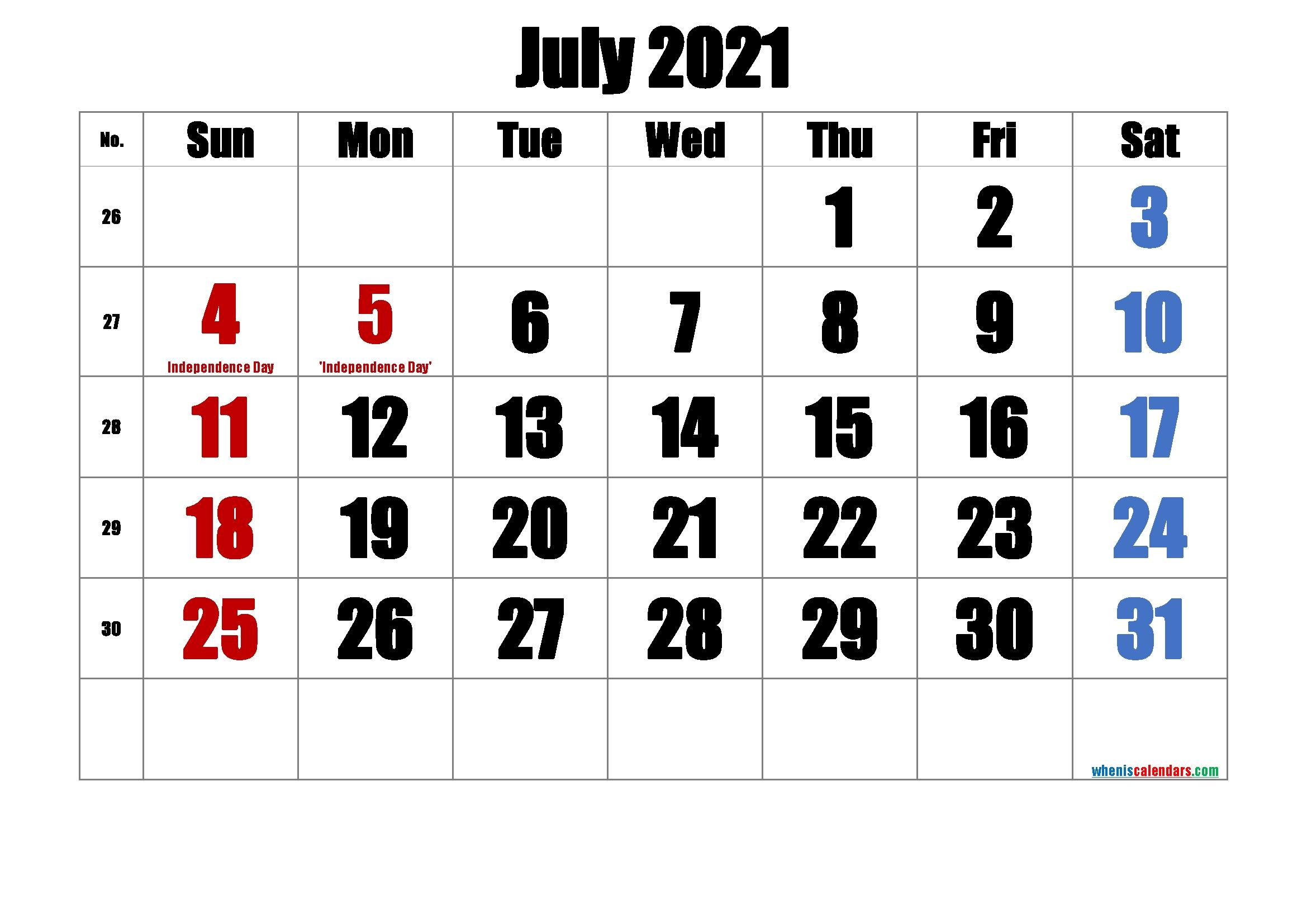 Free Printable July 2021 Calendar-Template No.ip21M43 - Free