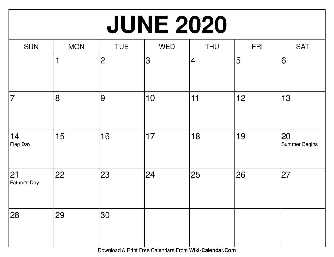 Free Printable June 2020 Calendars pertaining to 2020 Calendar Printable Free Pdf Color