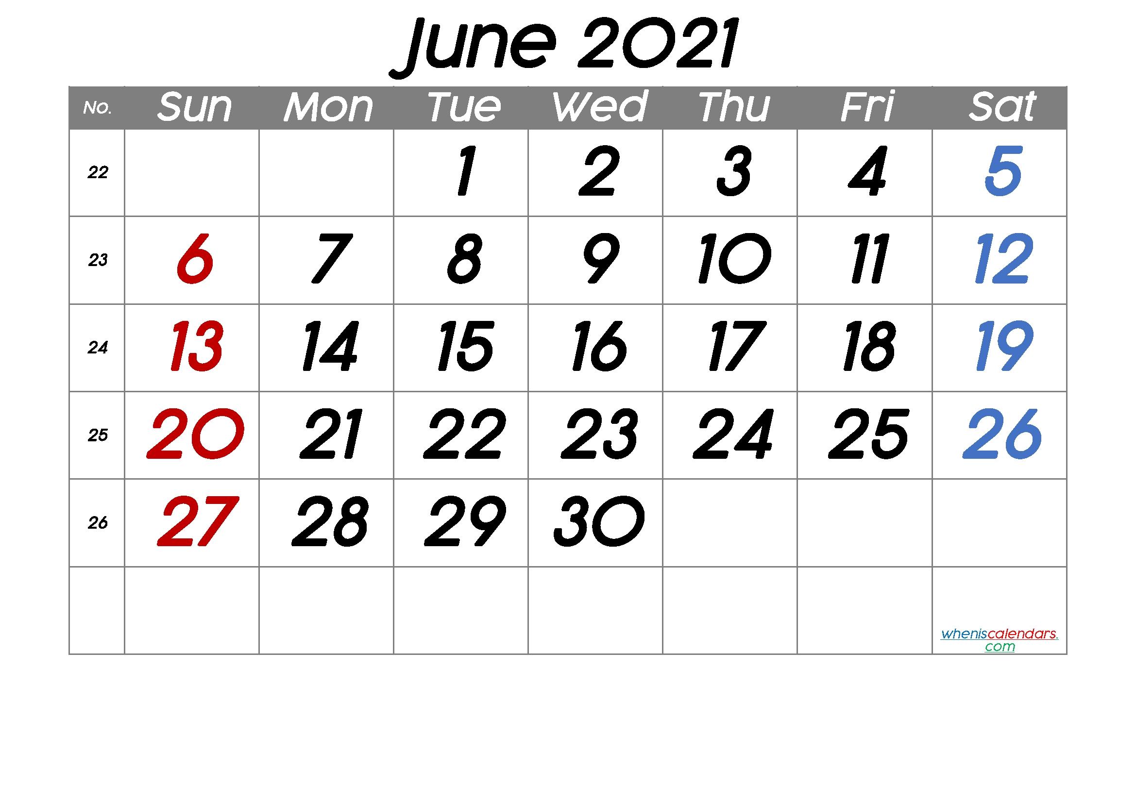 Free Printable June 2021 Calendar (Premium) In 2020