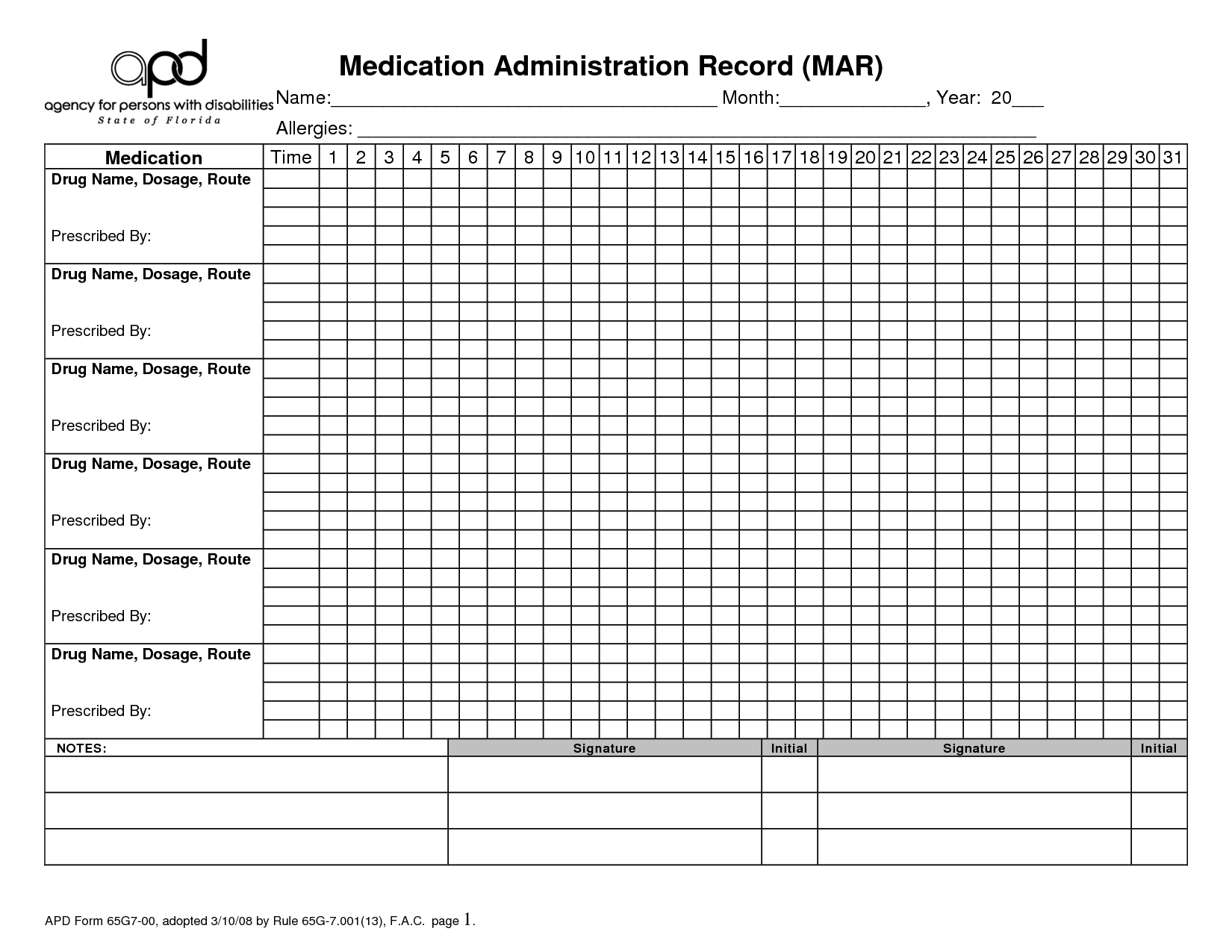 Free Printable Medication Administration Record | Medication for Medication Sheets For 7 Days