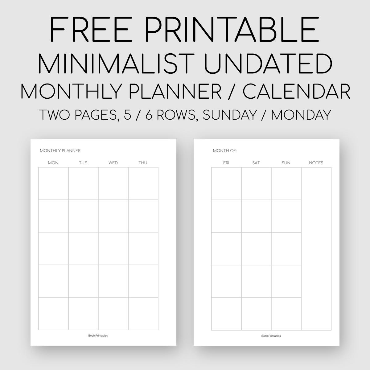 Free Printable Minimalist Monthly Planner / Undated Calendar with Undated Free Monthly Calendar Printable Free