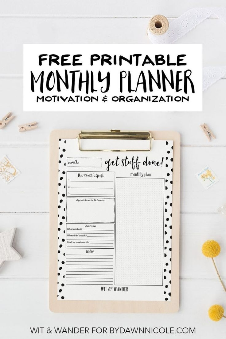 Free Printable Monthly At-A-Glance Planner | Free Printable