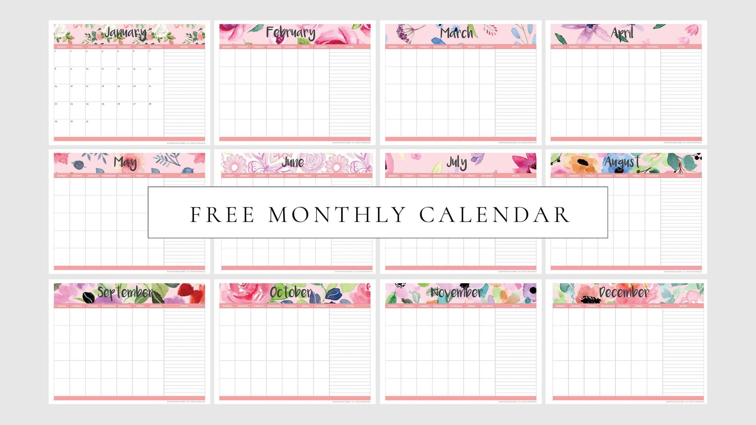 Free Printable Monthly Planner Calendar (Undated) - My with regard to Undated Free Monthly Calendar Printable Free