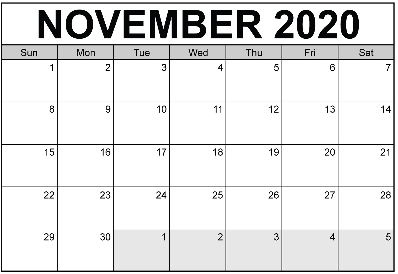 Free Printable November 2020 Calendar With Blank Notes - Set in 2020 Printabl Calendar With Space To Write Free