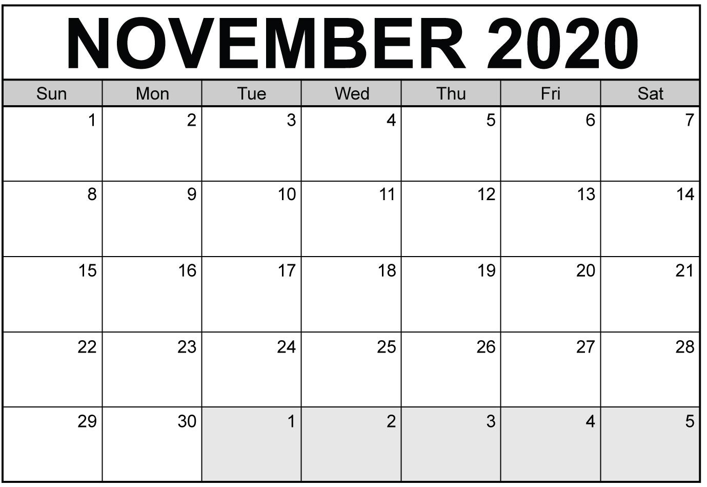 Free Printable November 2020 Calendar With Blank Notes - Set pertaining to 2020 Calendar Free Printable With Space To Write