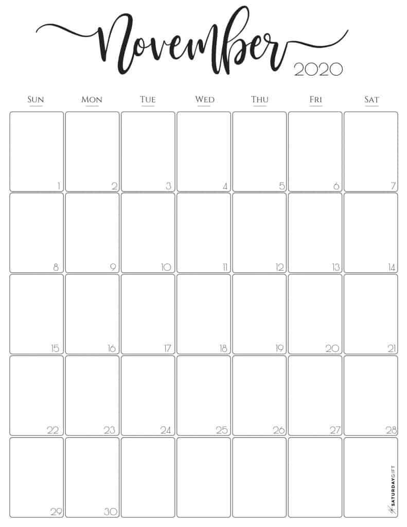 Free Printable November 2020 Calendars For Usa (Updated intended for 2020 Printabl Calendar With Space To Write Free