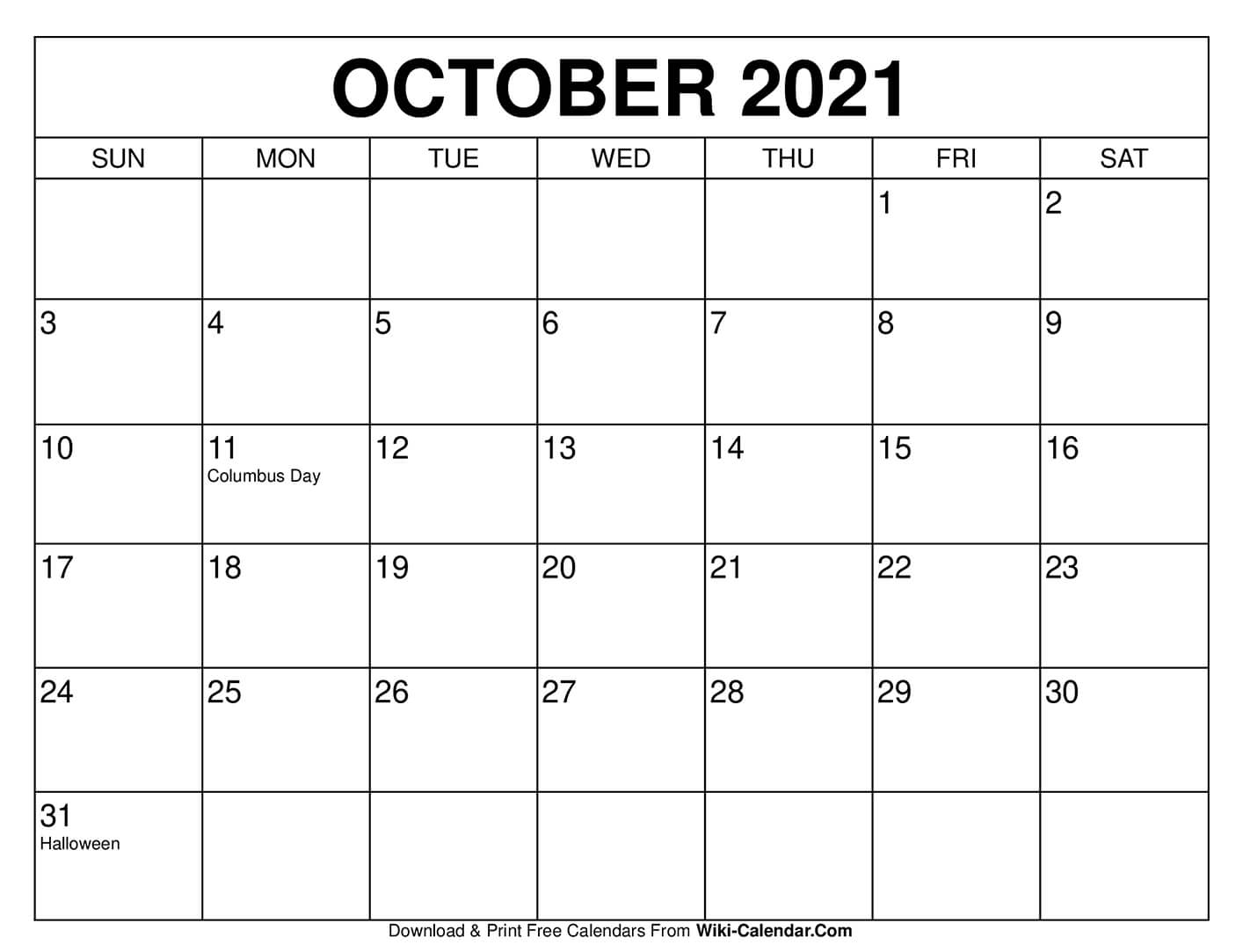 Free Printable October 2020 Calendars inside 8.5 X 11 Free Printable Calendars