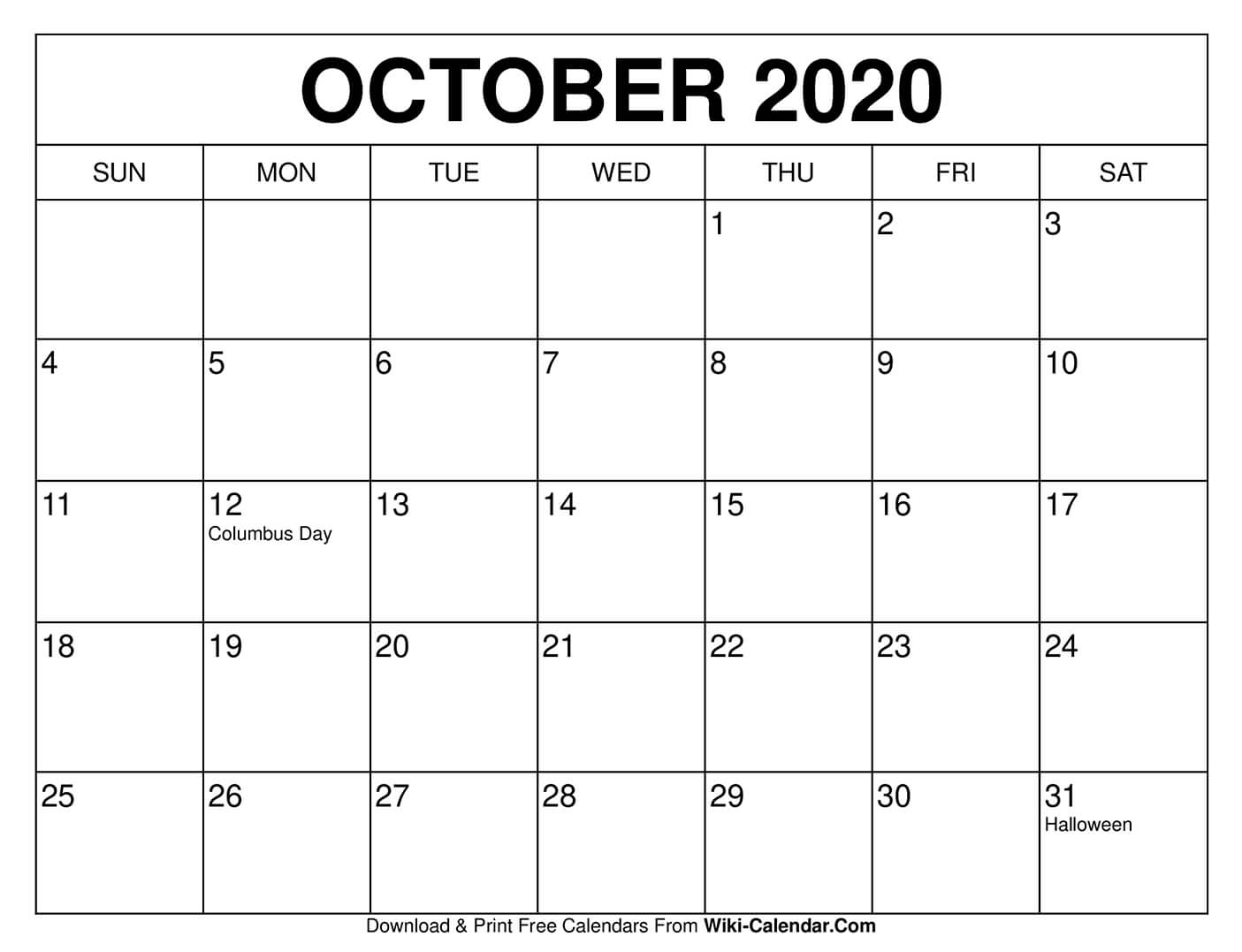 Free Printable October 2020 Calendars pertaining to 8.5 X 11 Printable 2020 Calendar