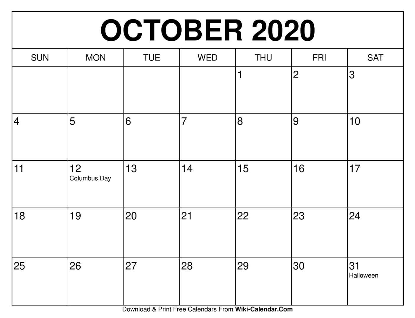 Free Printable October 2020 Calendars with regard to 8.5 X 11 Free Printable Calendars