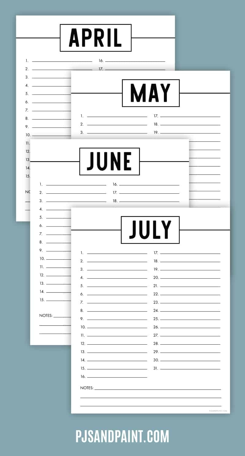 Free Printable Perpetual Calendar - Printable Birthday Calendar in Printable Template For Perpetual Calendar