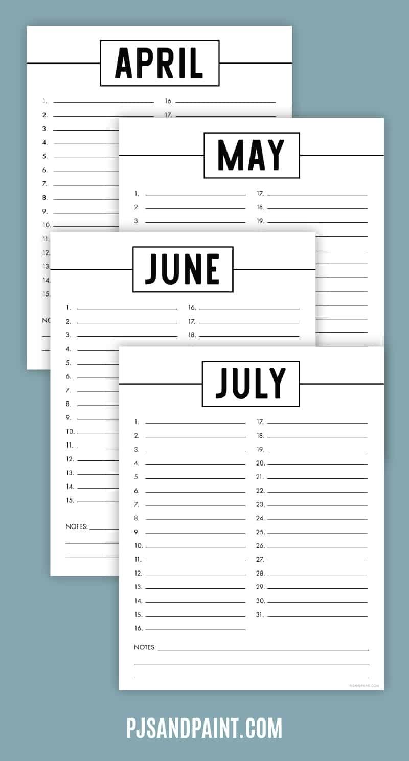 Free Printable Perpetual Calendar - Printable Birthday Calendar with regard to Free Printable Perpetual Calendar Template