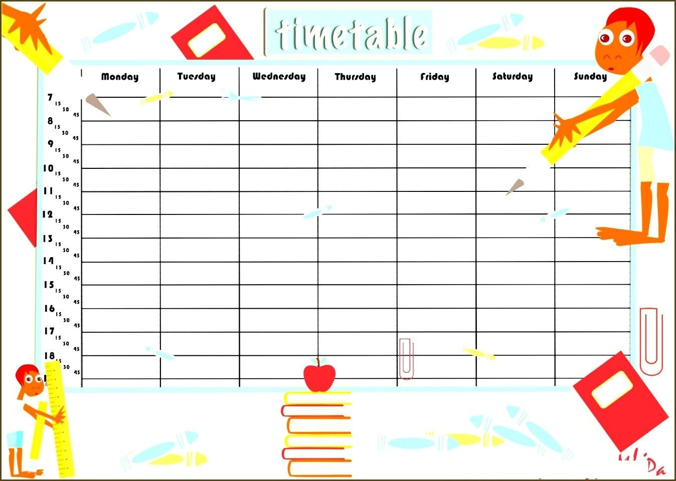 Free Printable Time Table Template | School Timetable